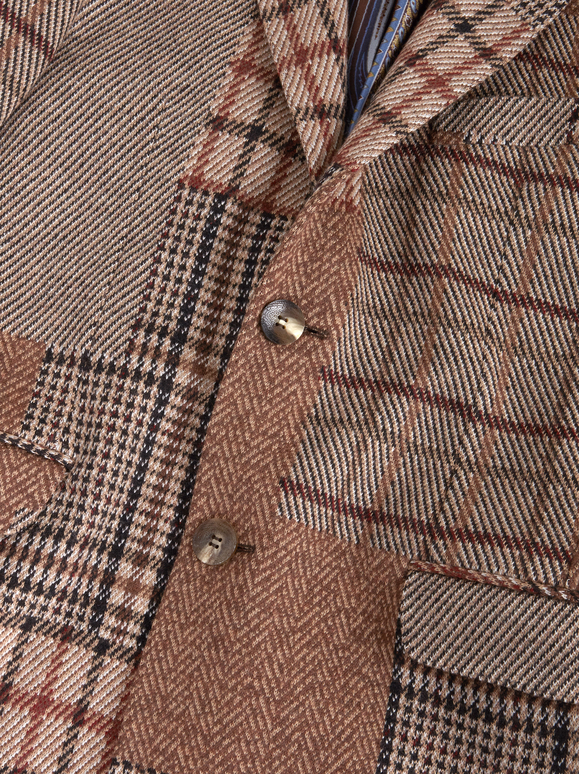 PATCHWORK CHECK WOOL OVERCOAT