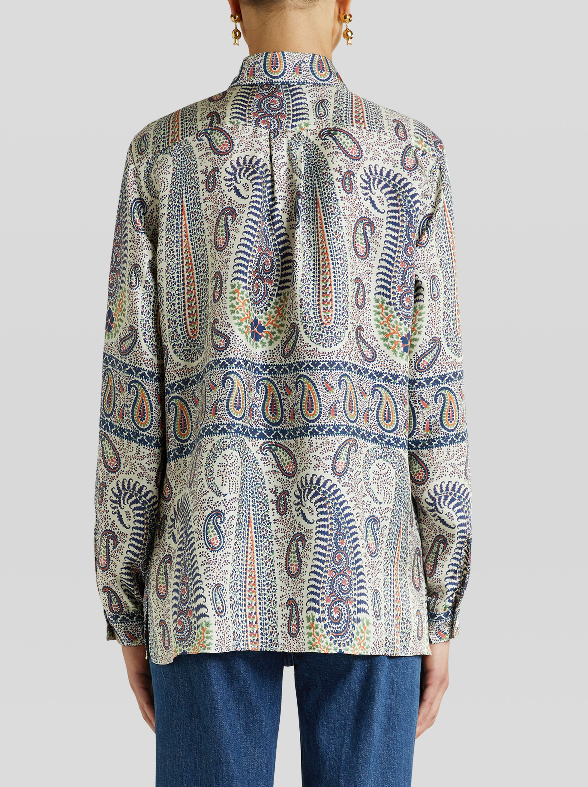 MOSAIC PAISLEY DESIGN SILK SHIRT