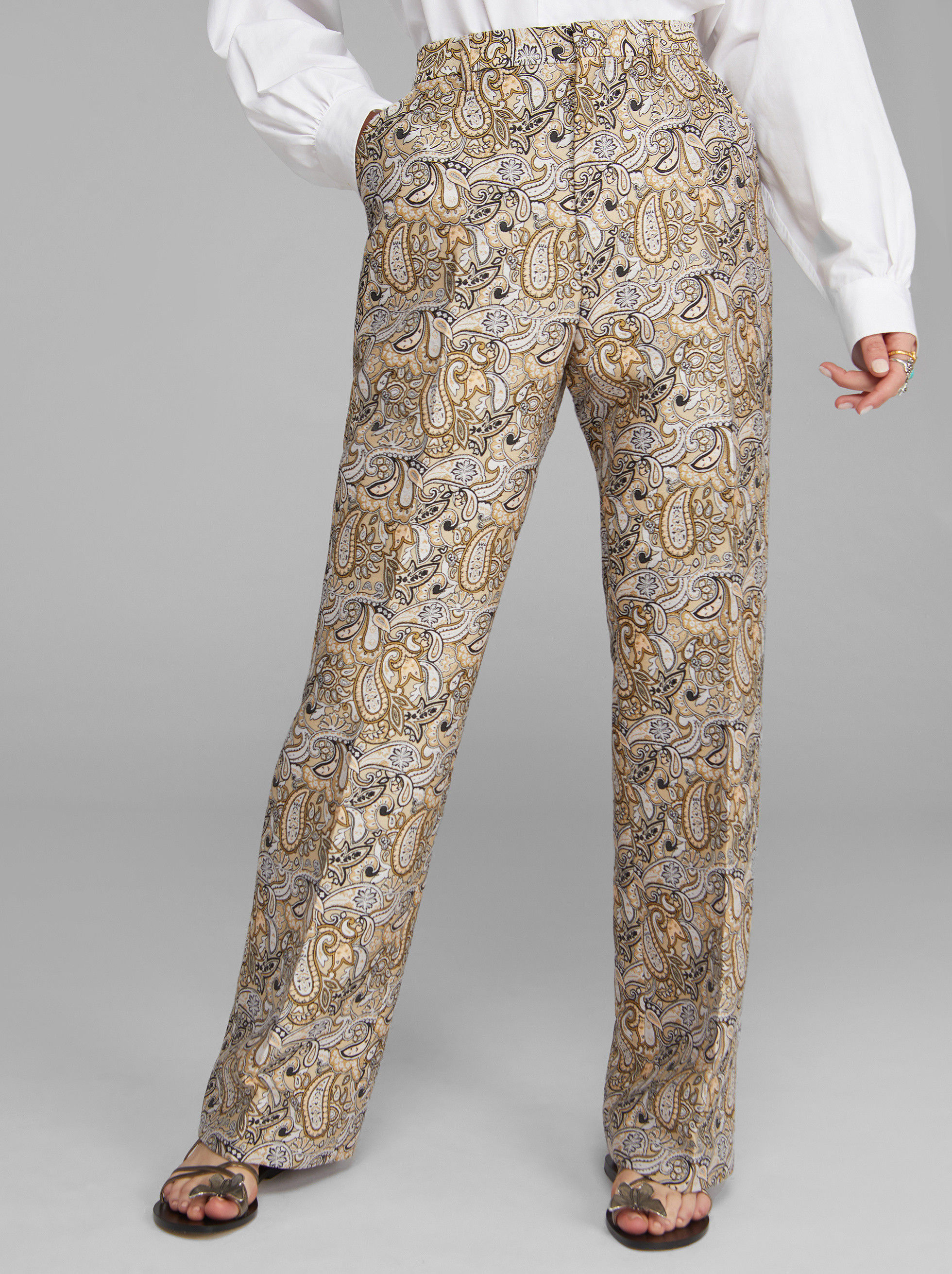FLARED JACQUARD TROUSERS WITH PAISLEY PATTERNS