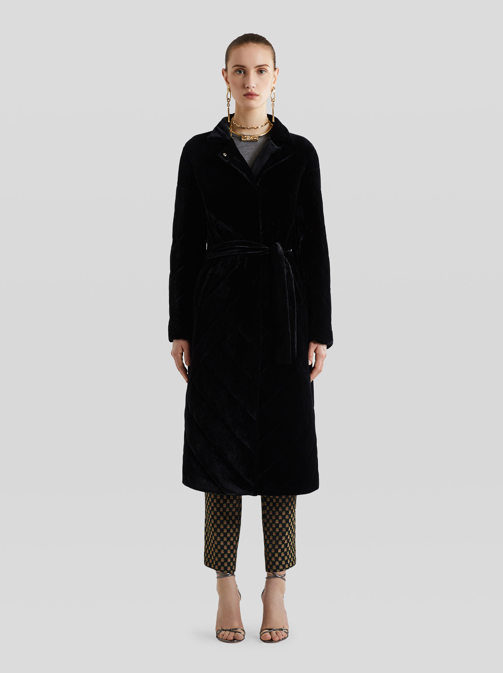 LONG VELVET DOWN COAT