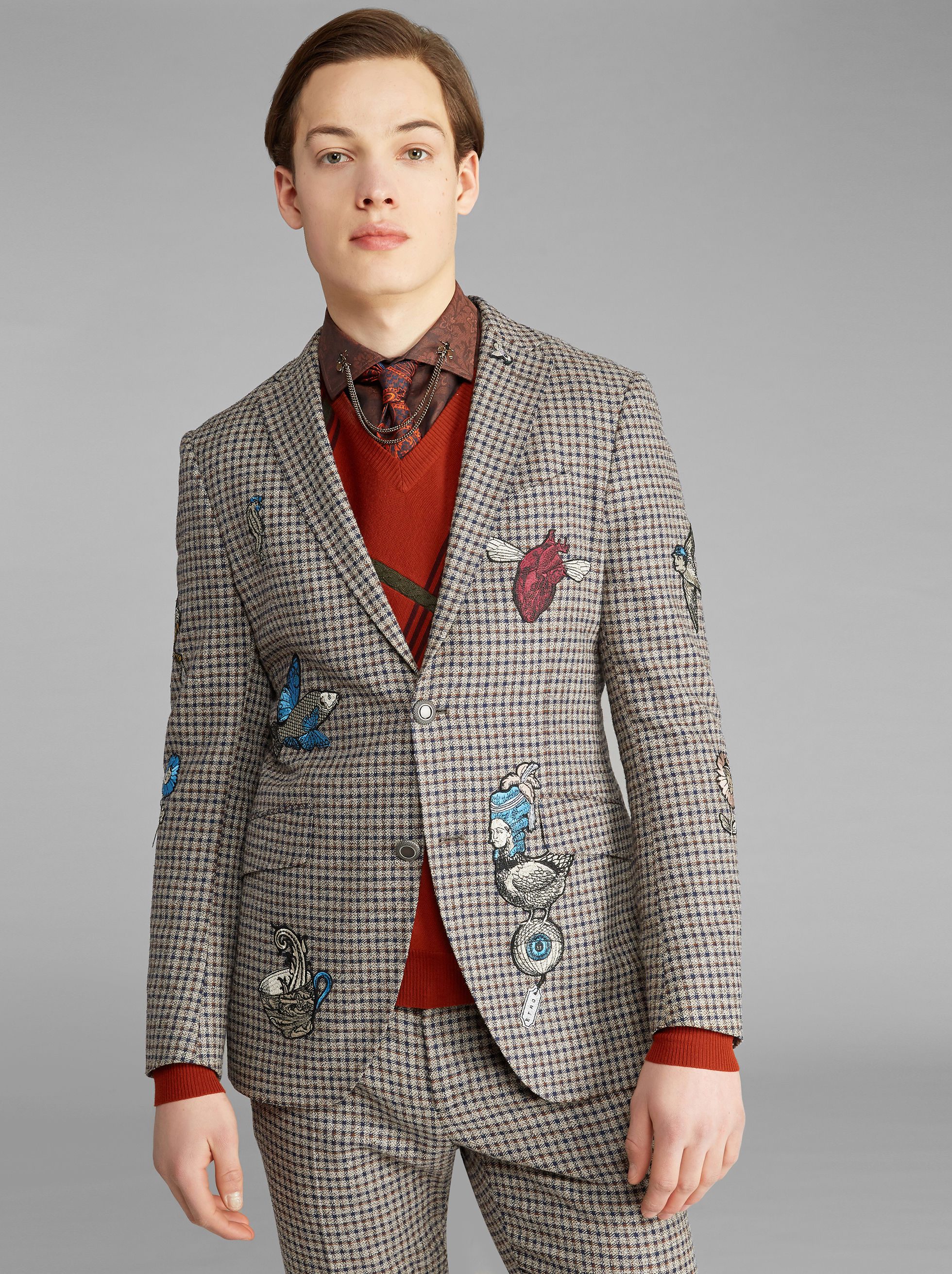 CHECK JACKET WITH EMBROIDERY