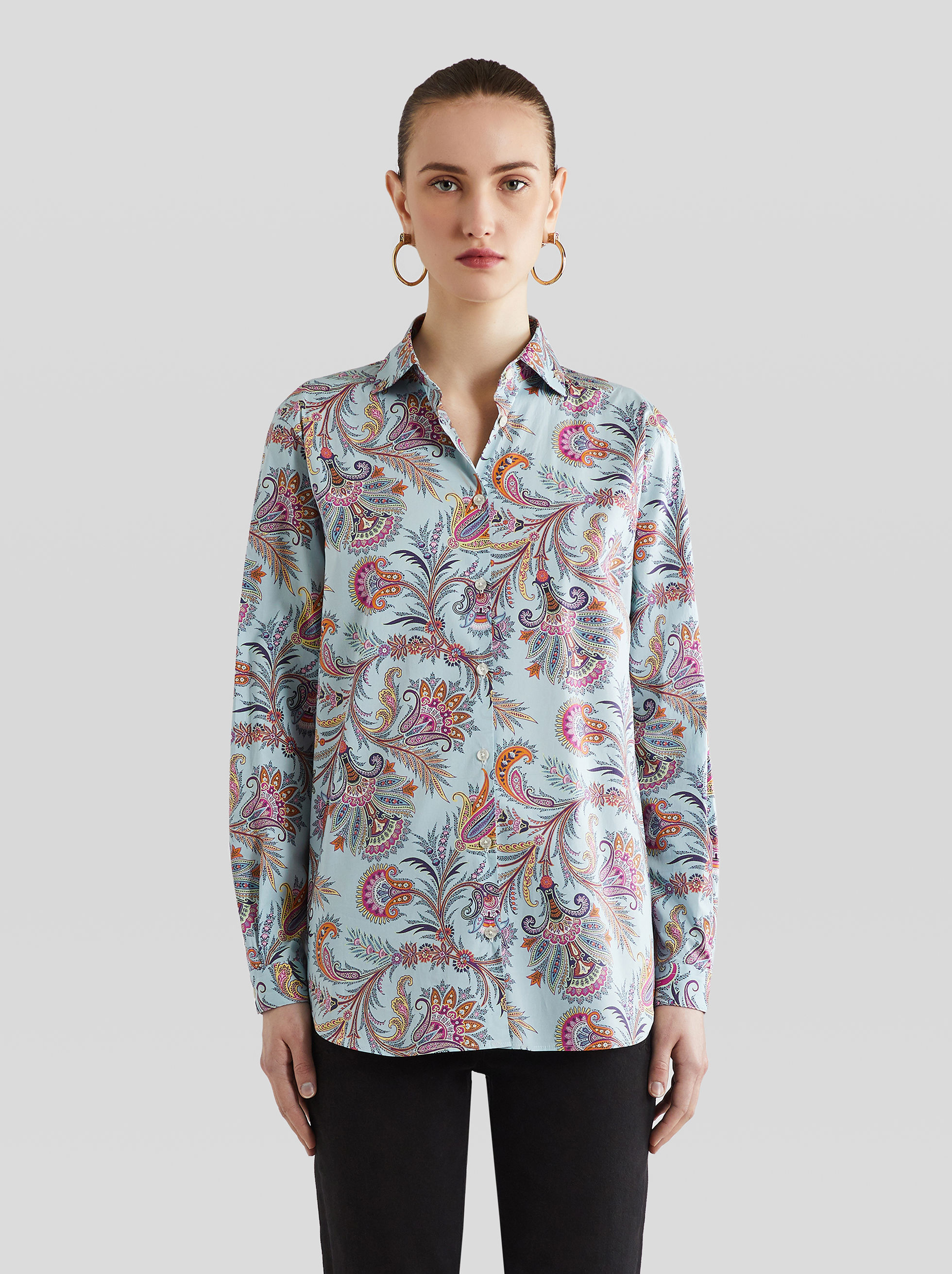SHIRT WITH LEAFY PAISLEY PRINT