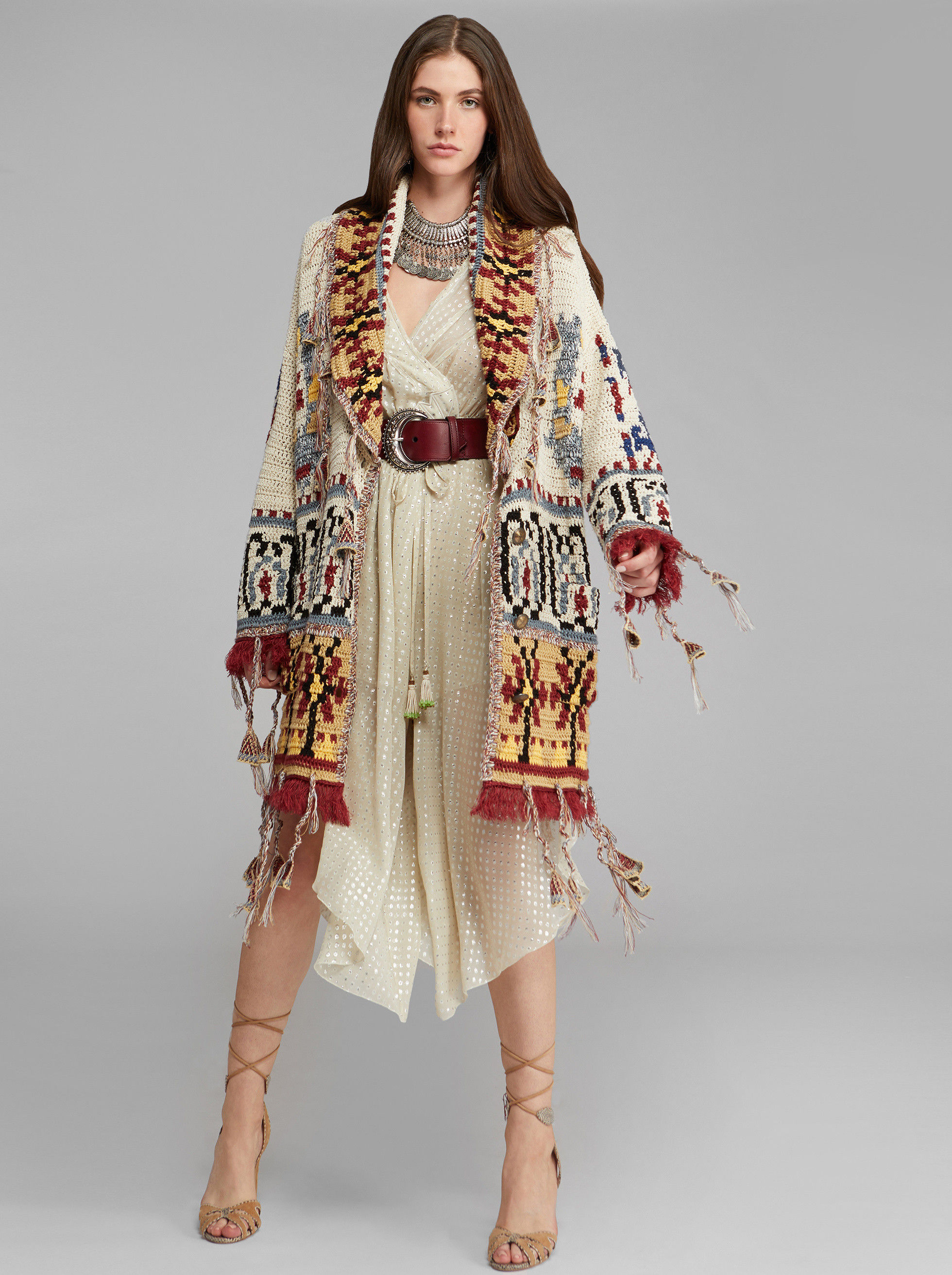 KNITTED JACQUARD COAT WITH TASSELS