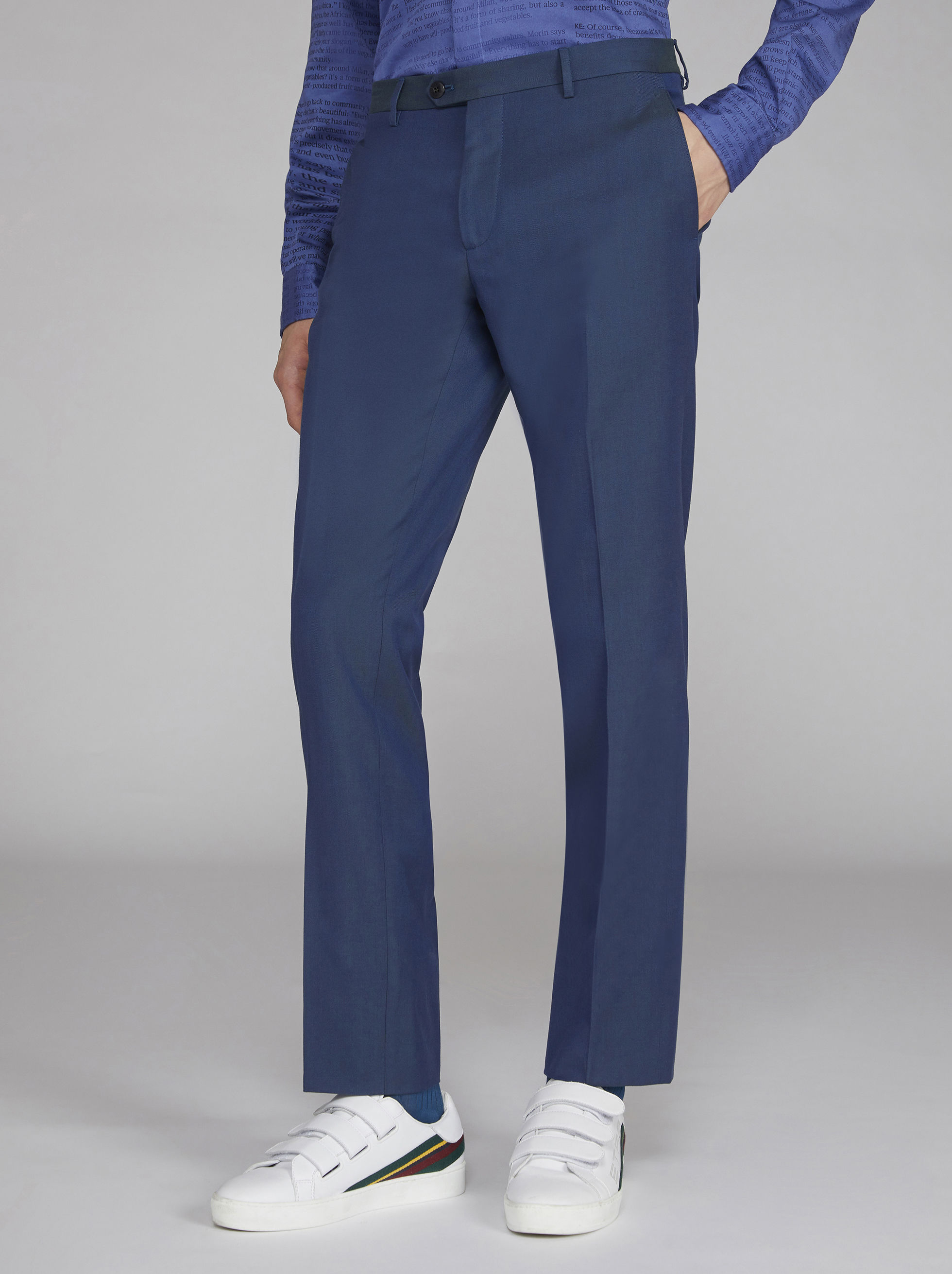 WOOL AND COTTON TROUSERS