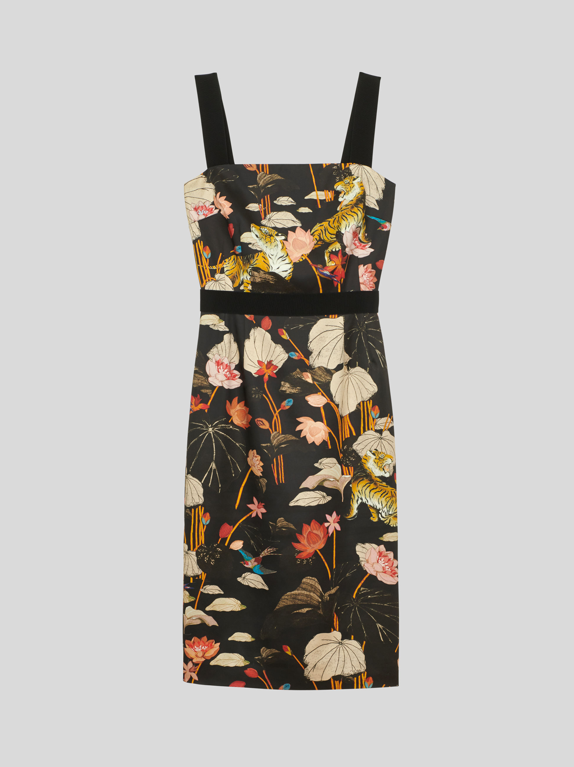 FLORAL AND TIGER PATTERN SHEATH DRESS