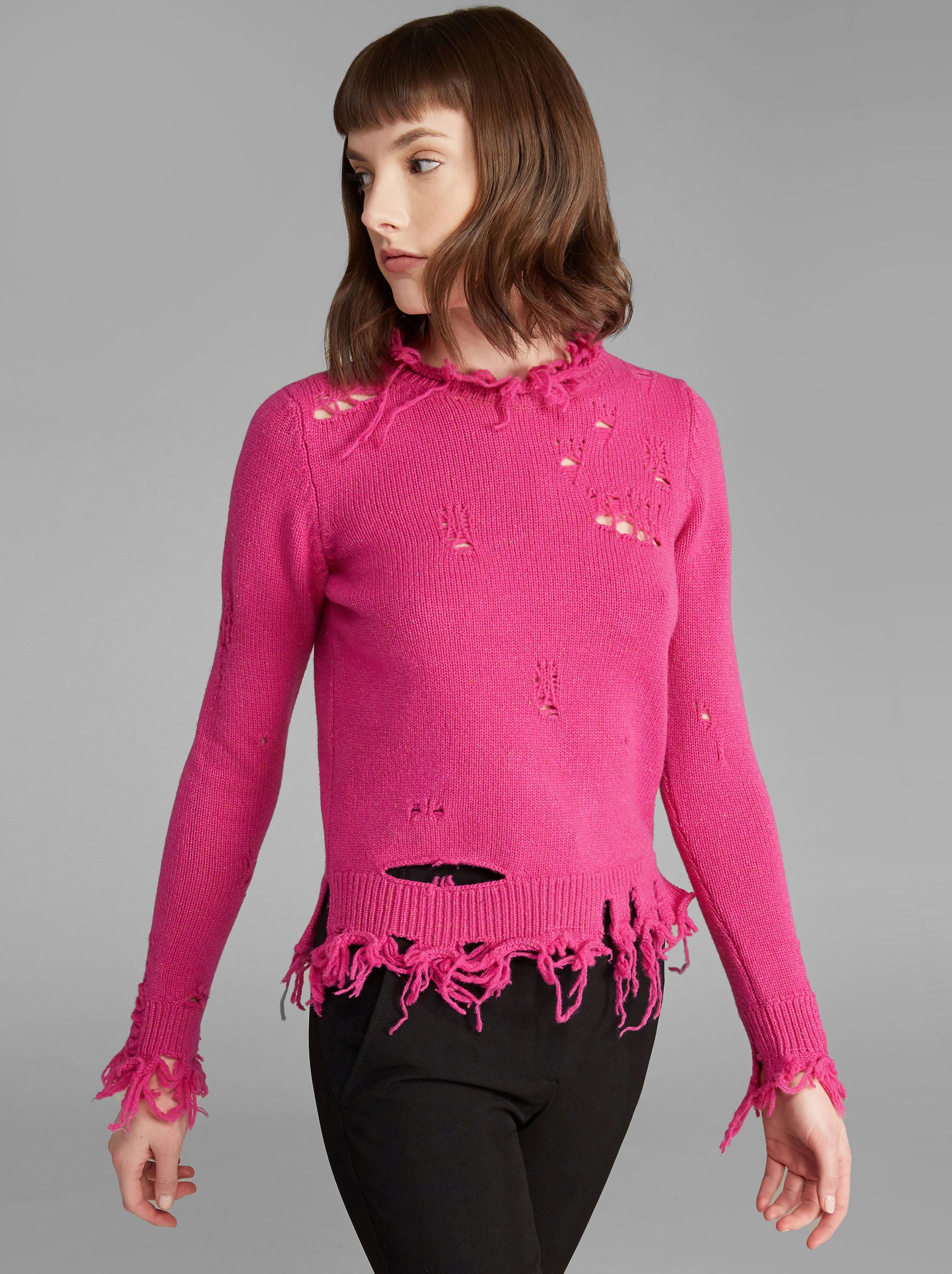 WOOL JUMPER WITH DESTROYED EFFECT