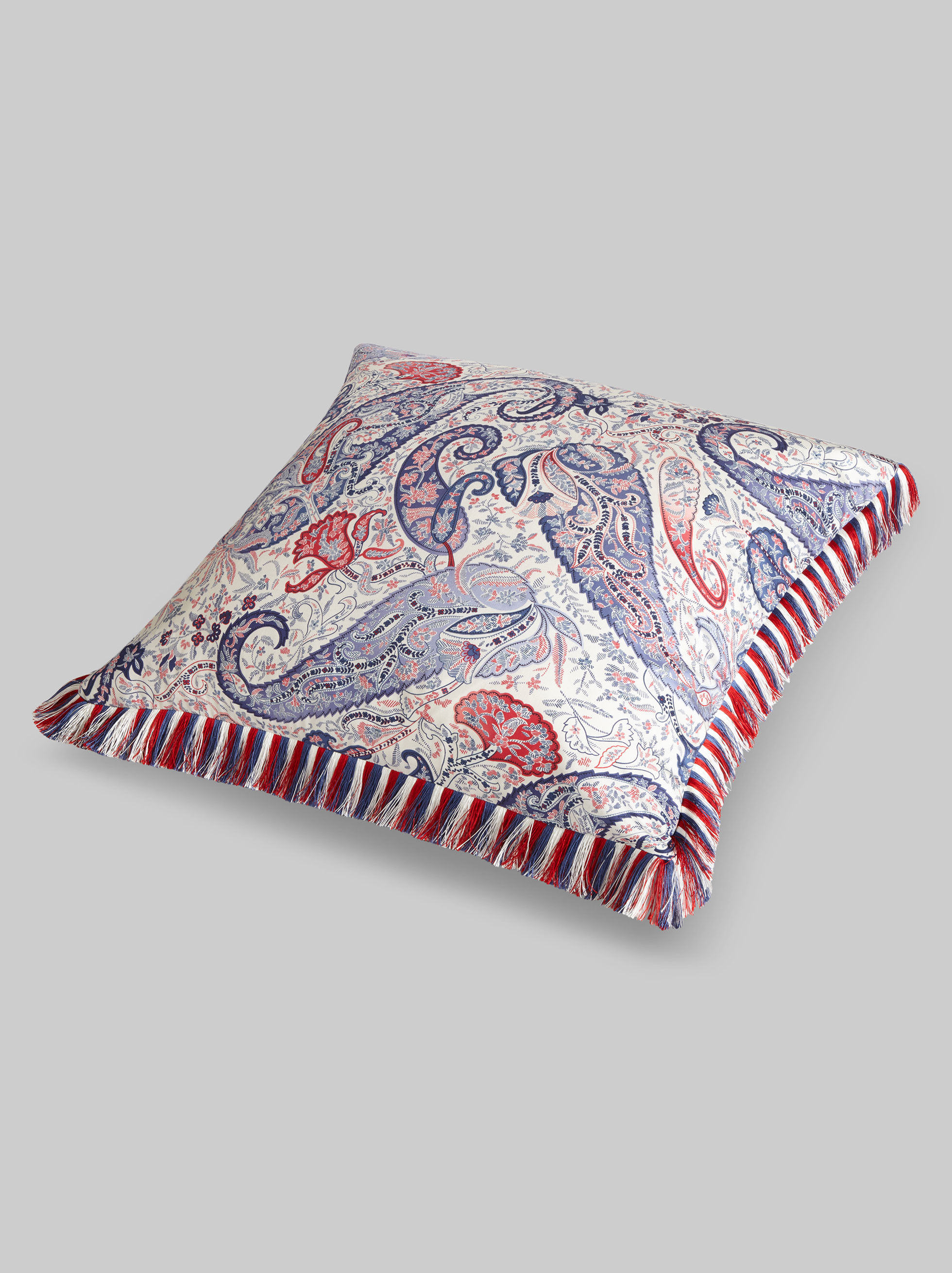 CUSHION WITH FRINGE AND PAISLEY PATTERNS