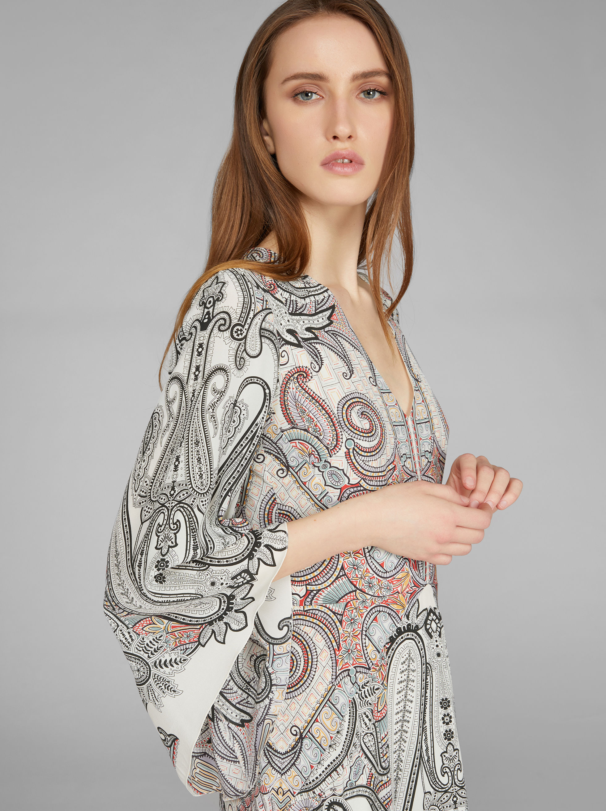 LONG PAISLEY PATTERN DRESS