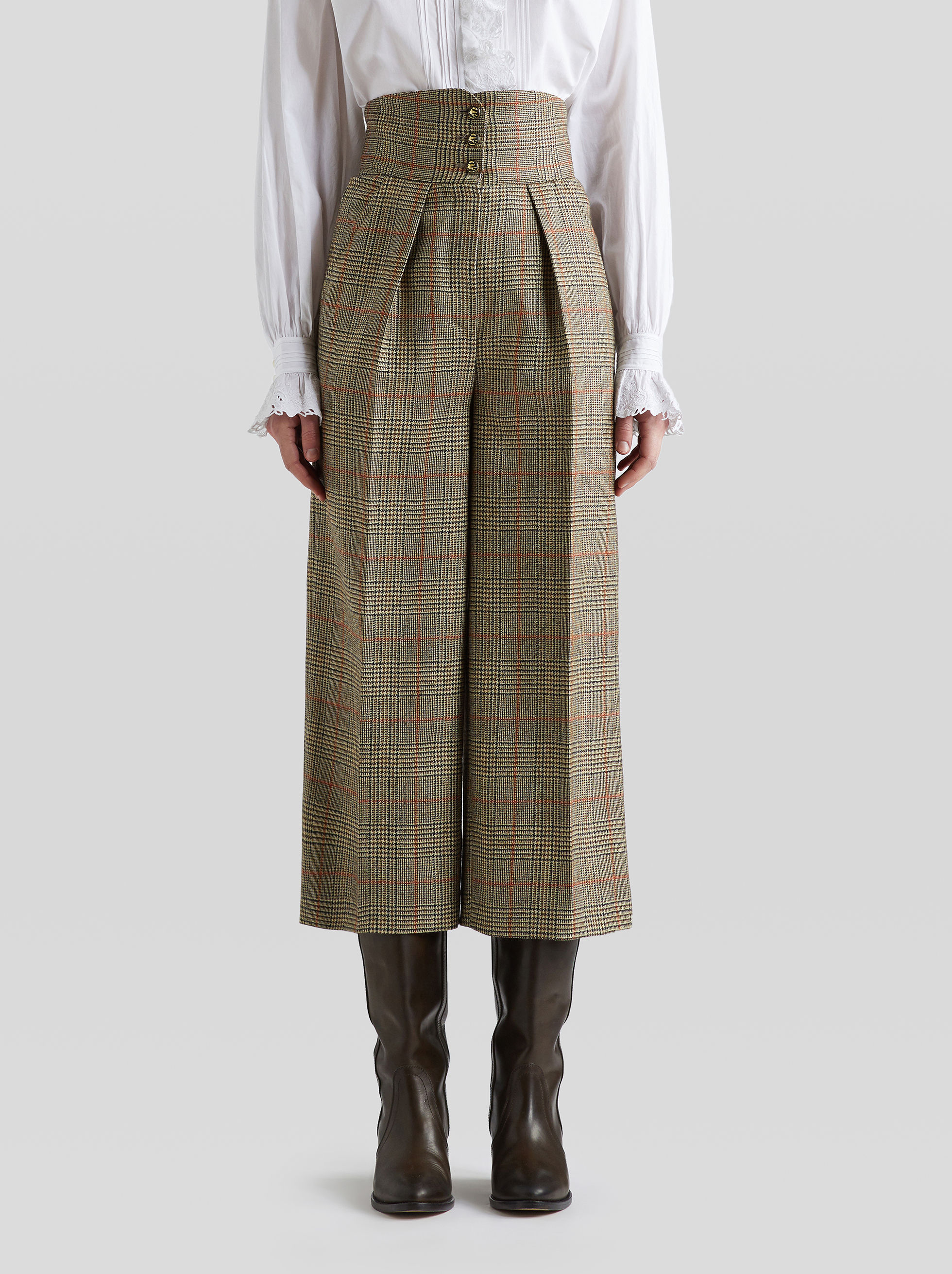 CULOTTES  MIT GLENCHECK-MUSTER