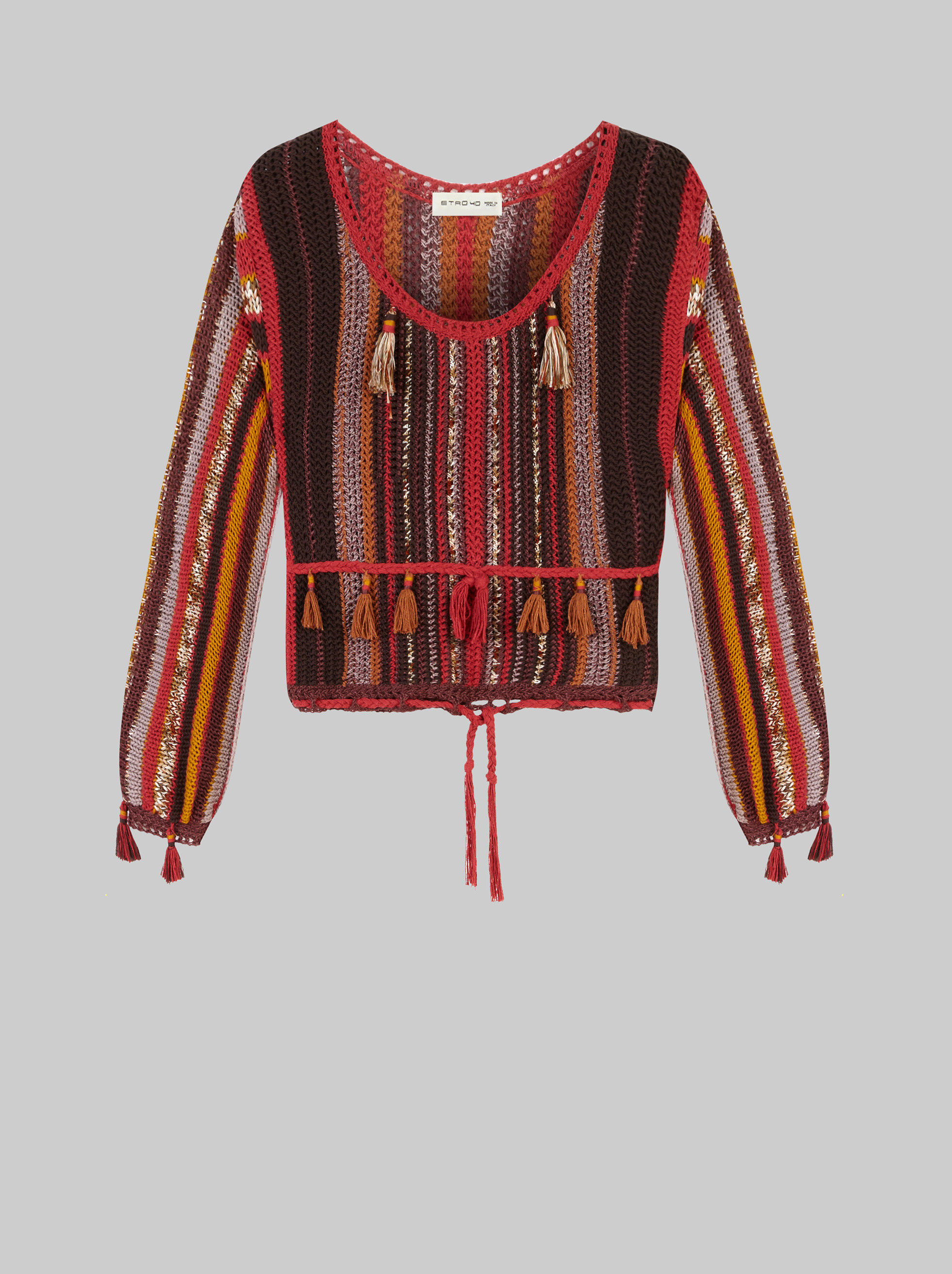 STRIPED JUMPER WITH TASSELS
