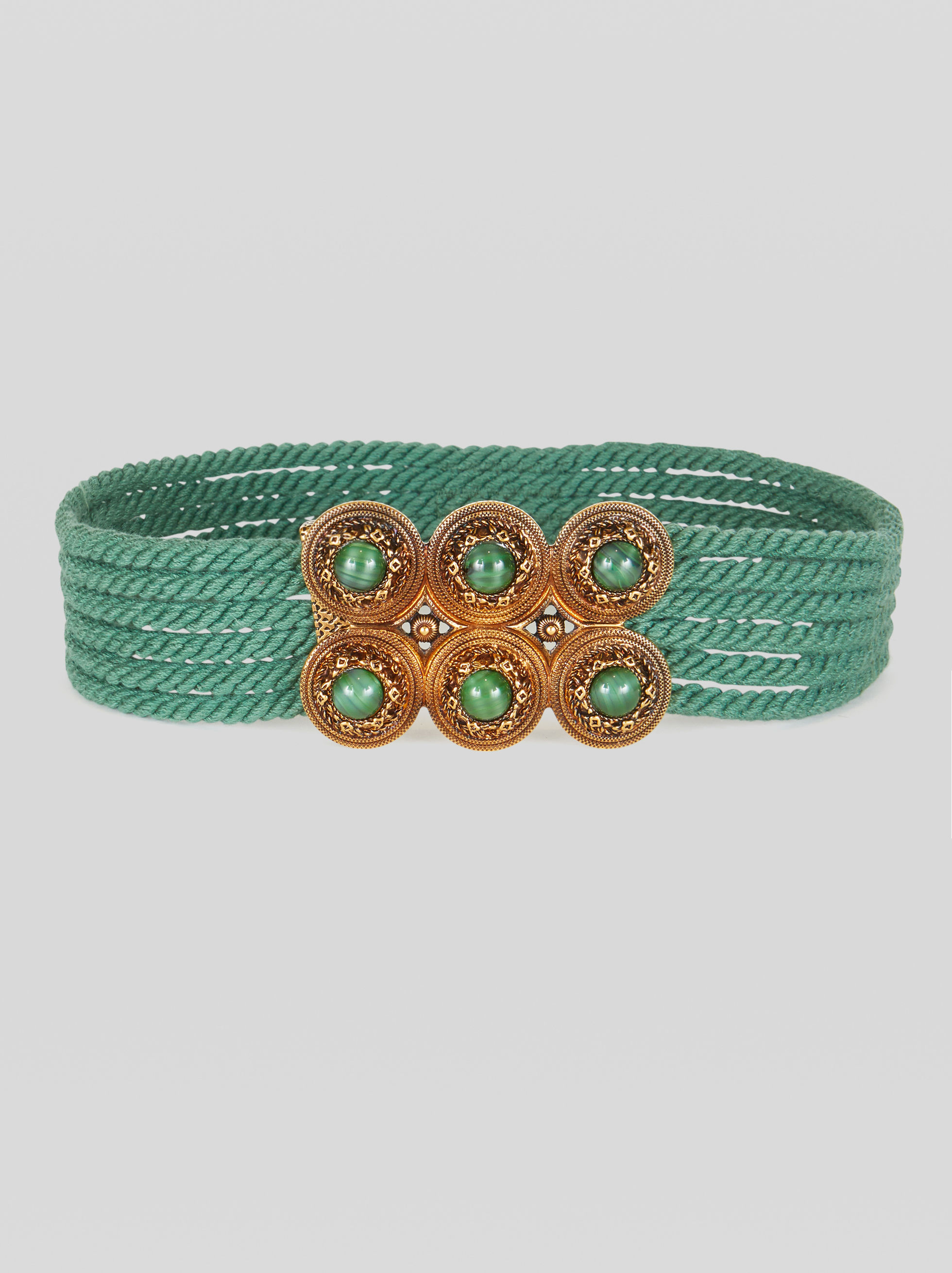 CORD BELT WITH JEWEL BUCKLE
