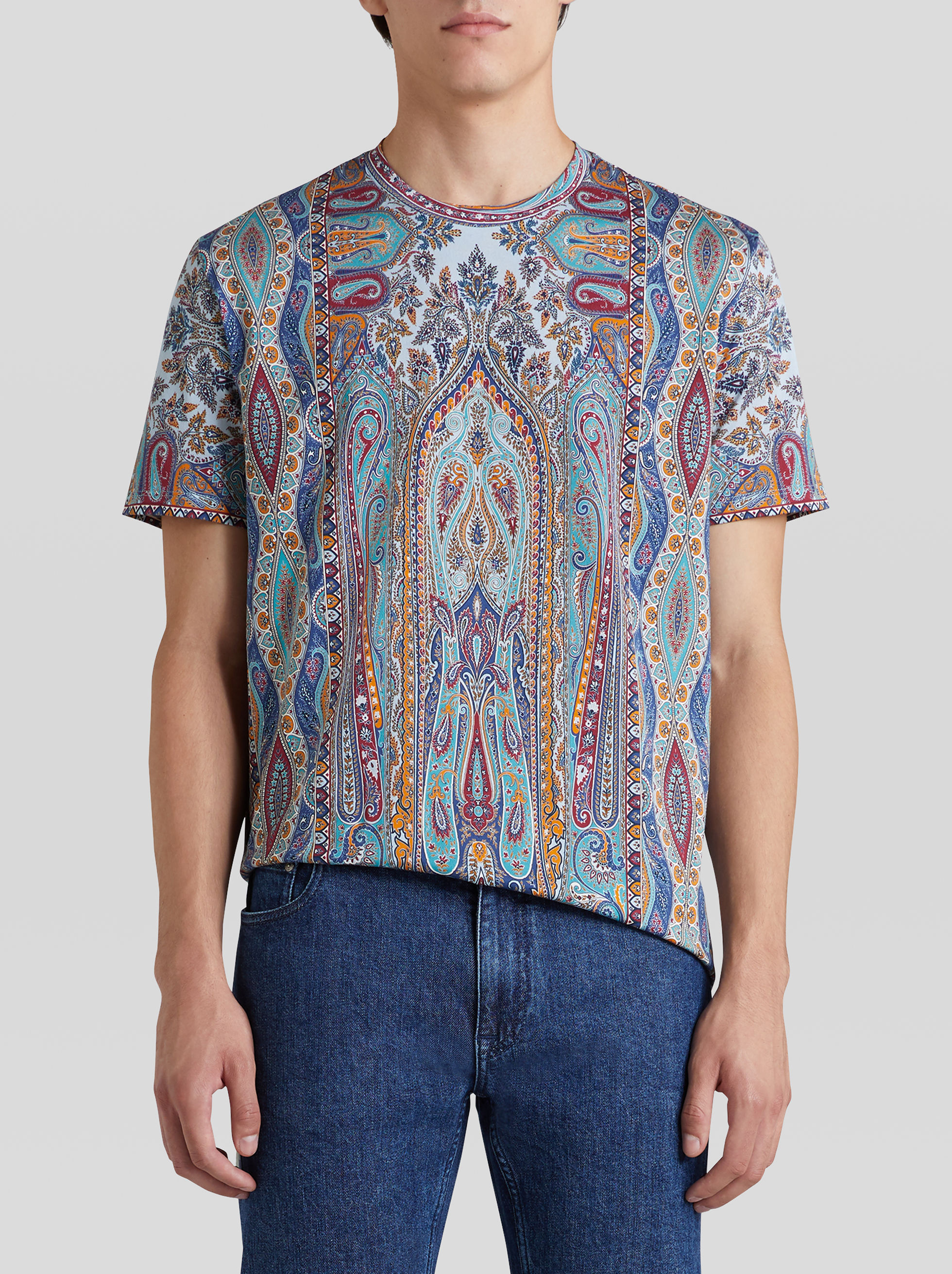 PAISLEY PATTERN COTTON T-SHIRT
