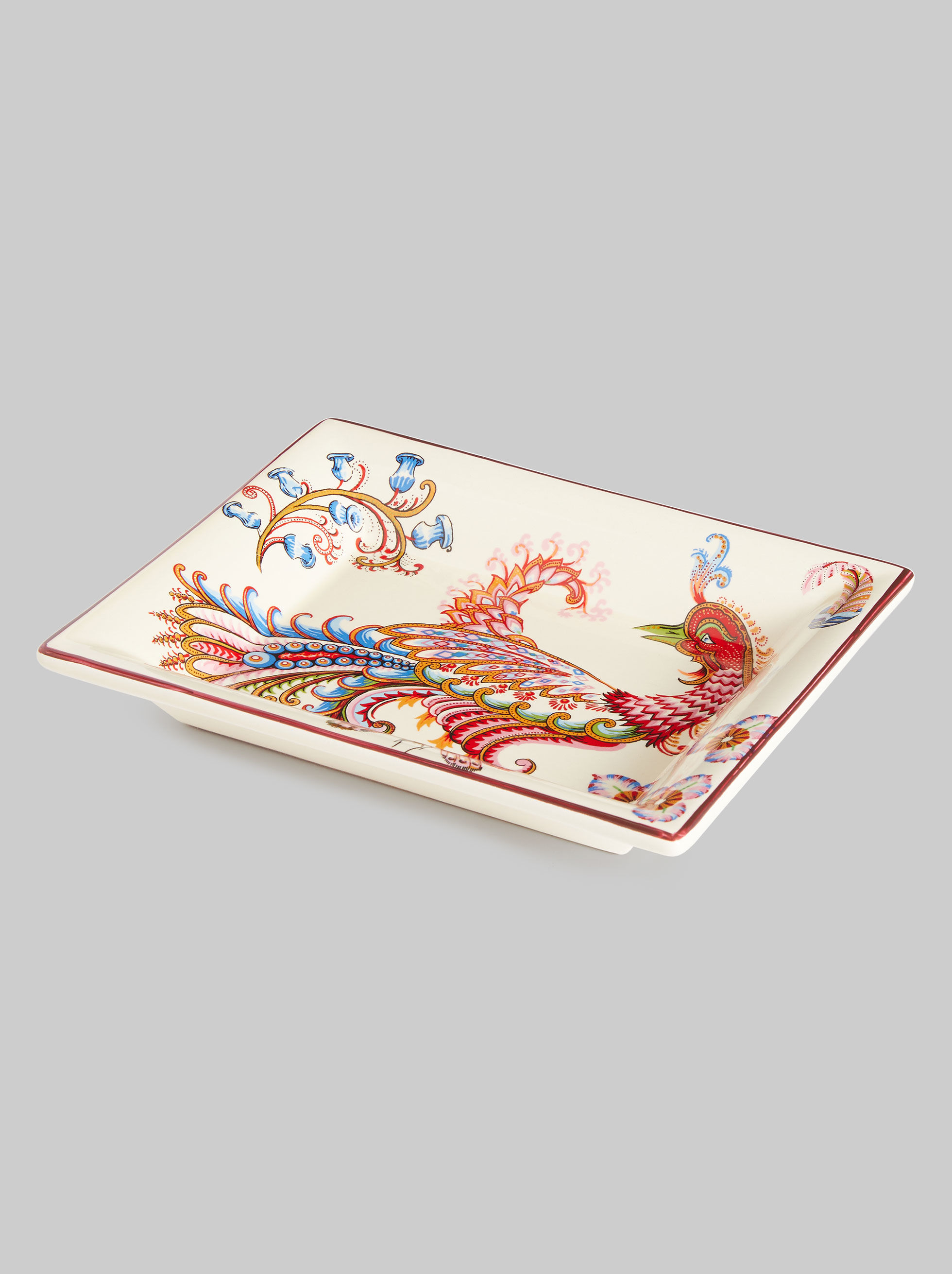RECTANGULAR CERAMIC TRAY WITH PEACOCK