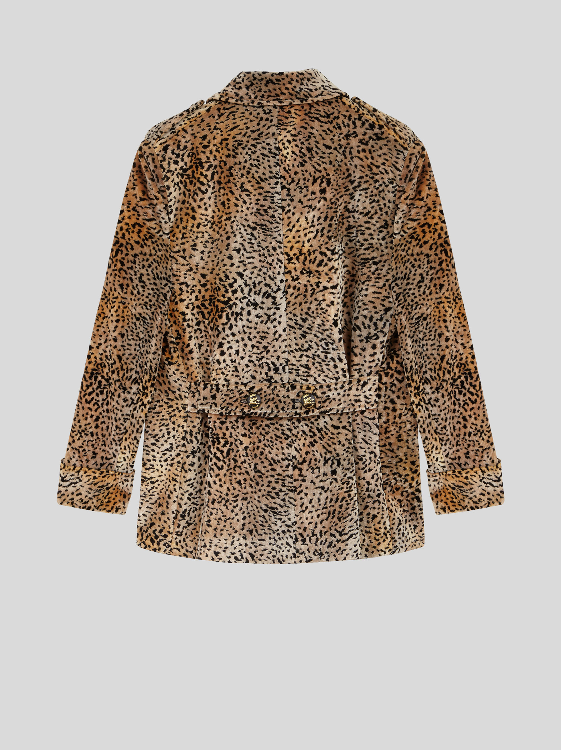 ANIMAL-PRINT VELVET PEACOAT