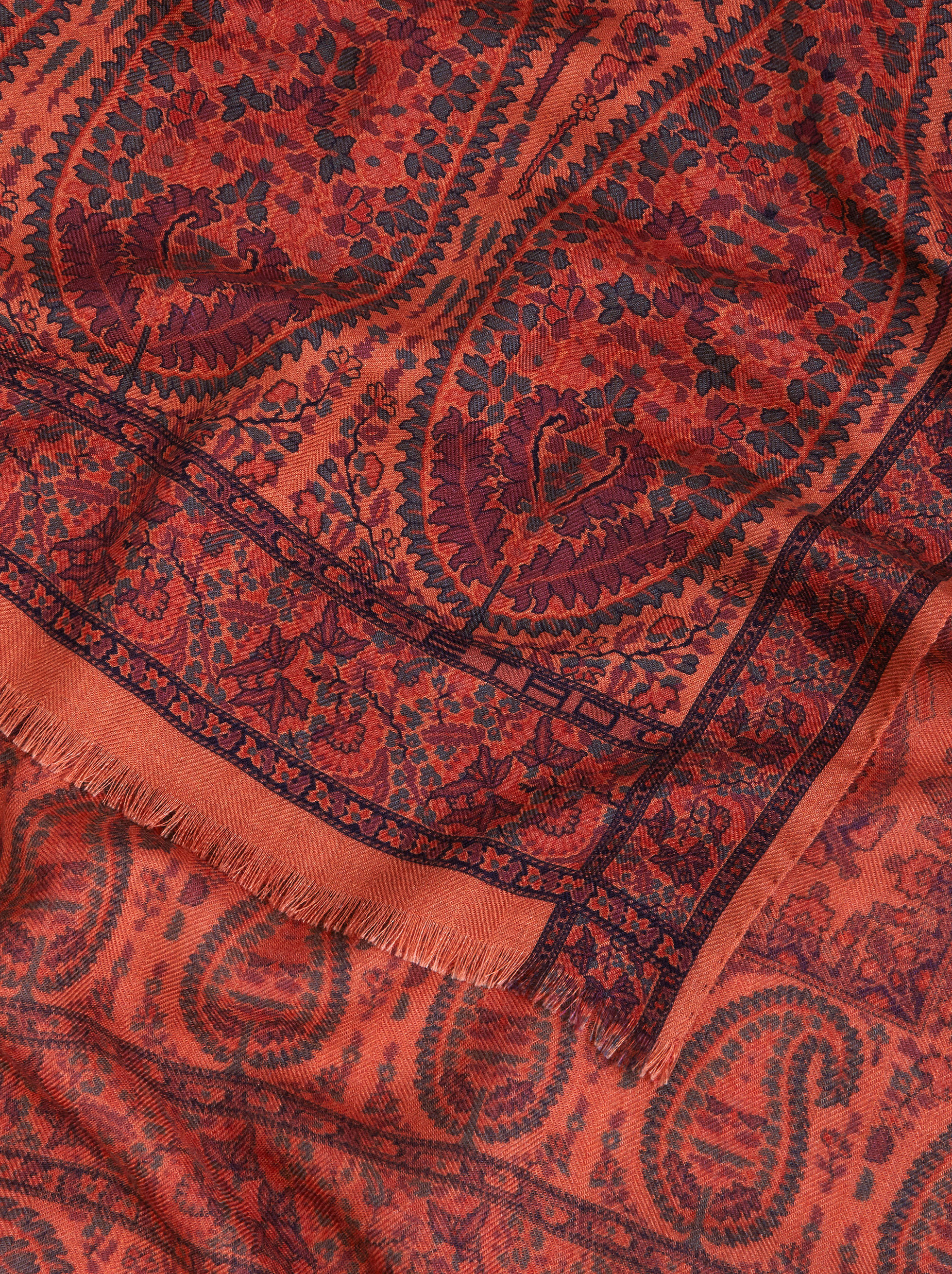 PAISLEY PATTERN SILK AND CASHMERE SCARF