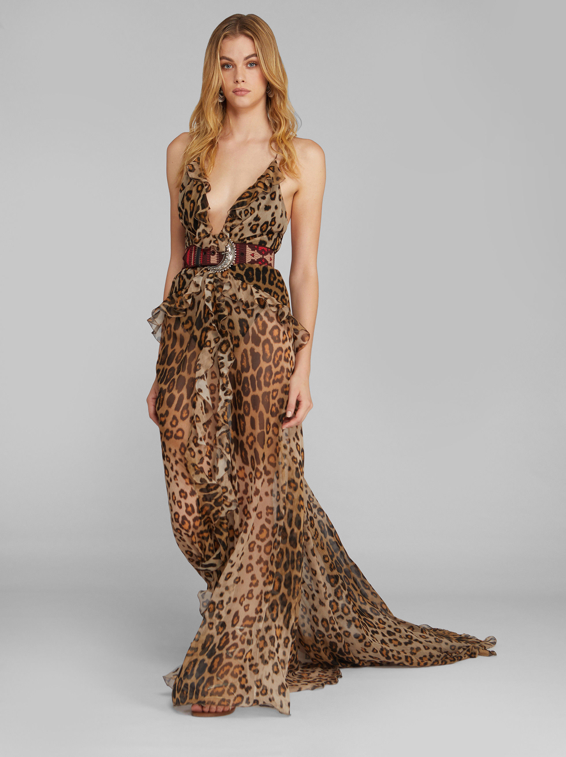 LONG ANIMAL-PRINT DRESS