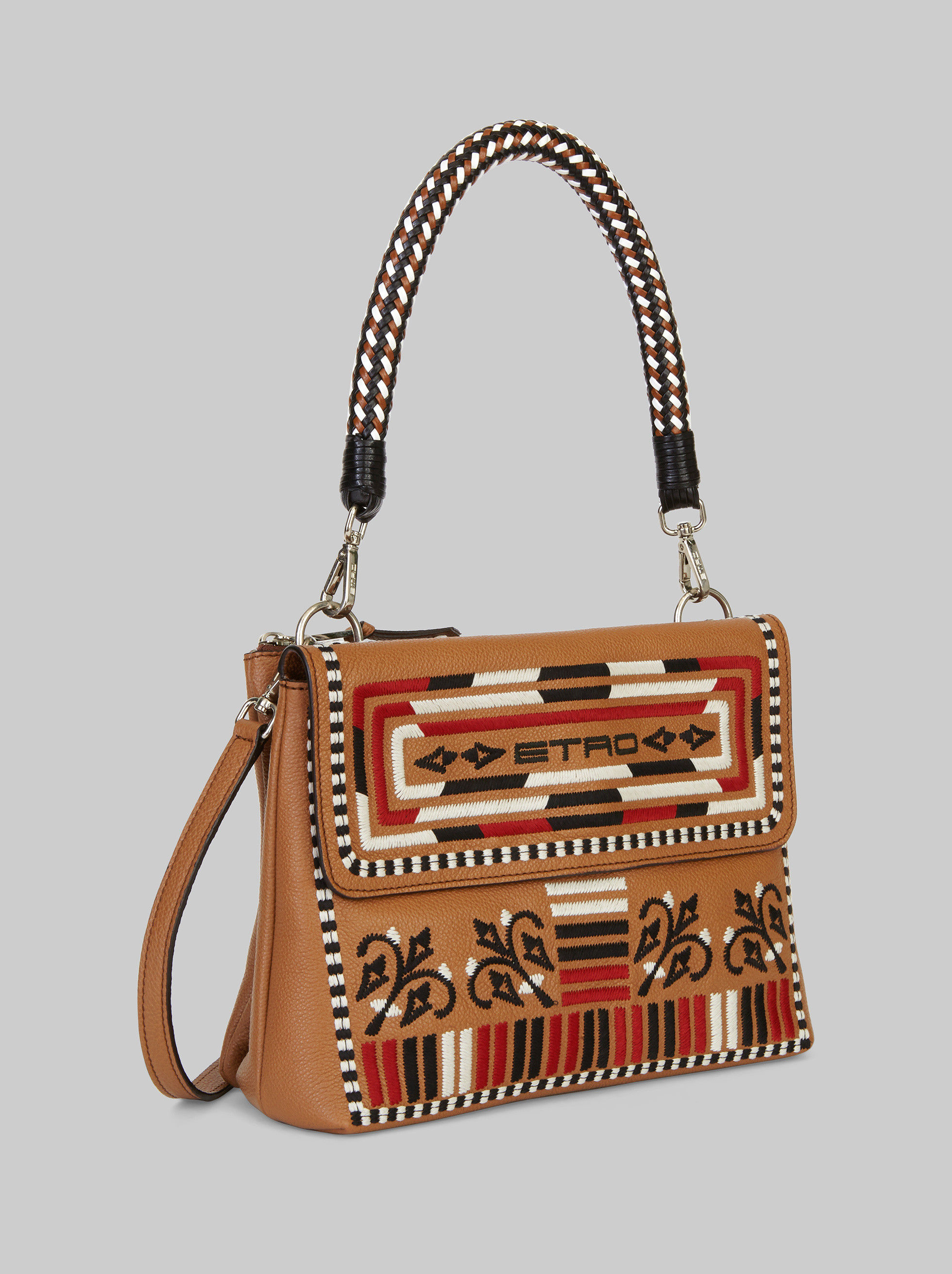 EMBROIDERED FOULARD SHOULDER BAG