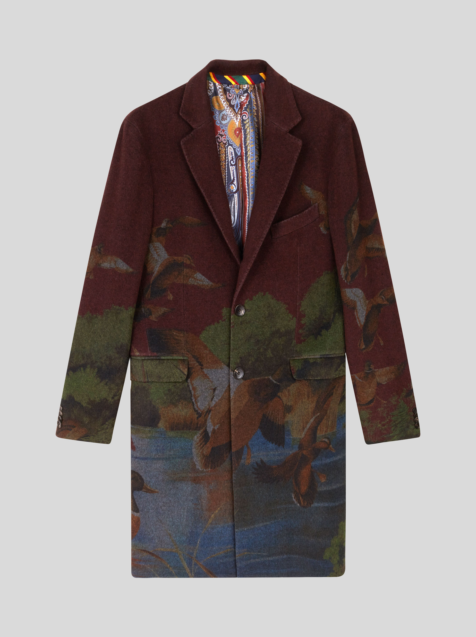PRINTED WOOL AND CASHMERE COAT