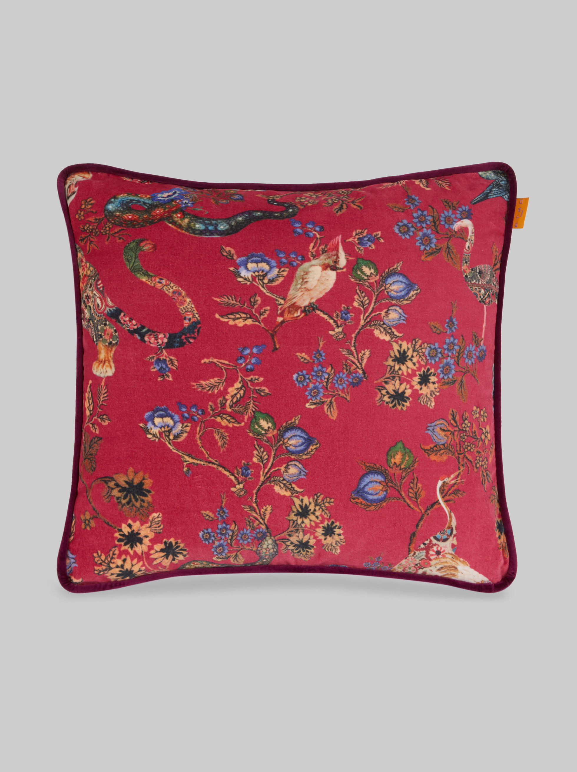COTTON VELVET CUSHION WITH JUNGLE PATTERN
