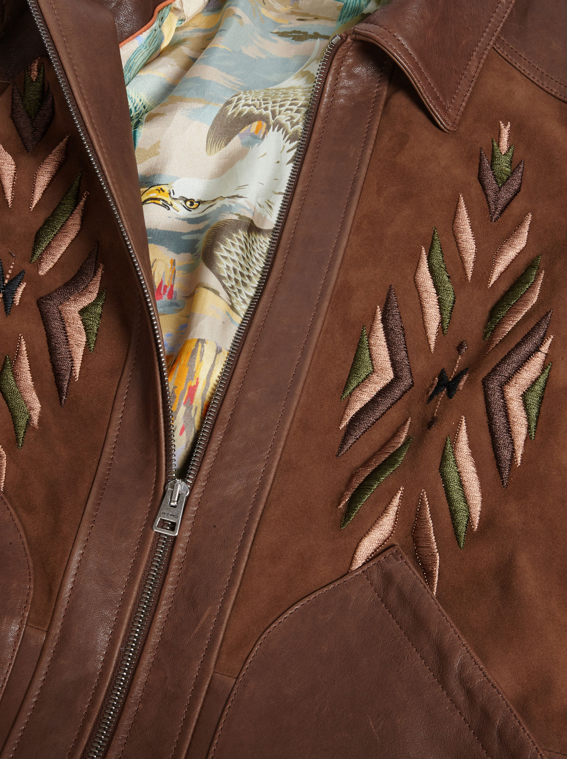 NAPPA LEATHER AND SUEDE BOMBER JACKET WITH IKAT EMBROIDERY