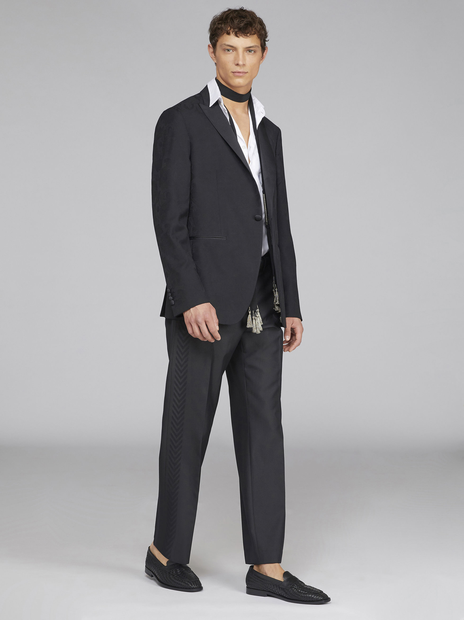 TAILORED JACQUARD TROUSERS WITH STRIPE