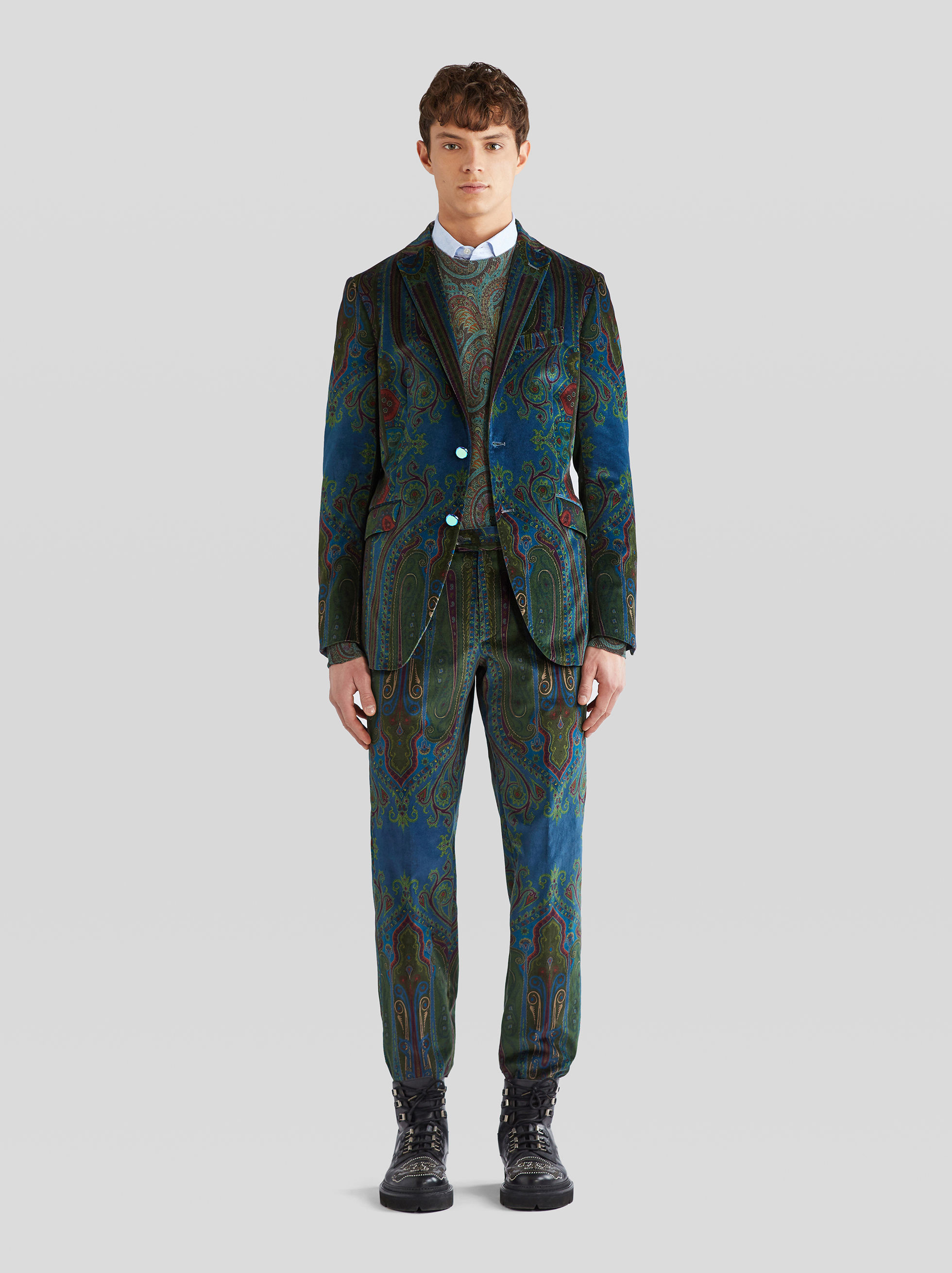 PAISLEY VELVET TAILORED TROUSERS