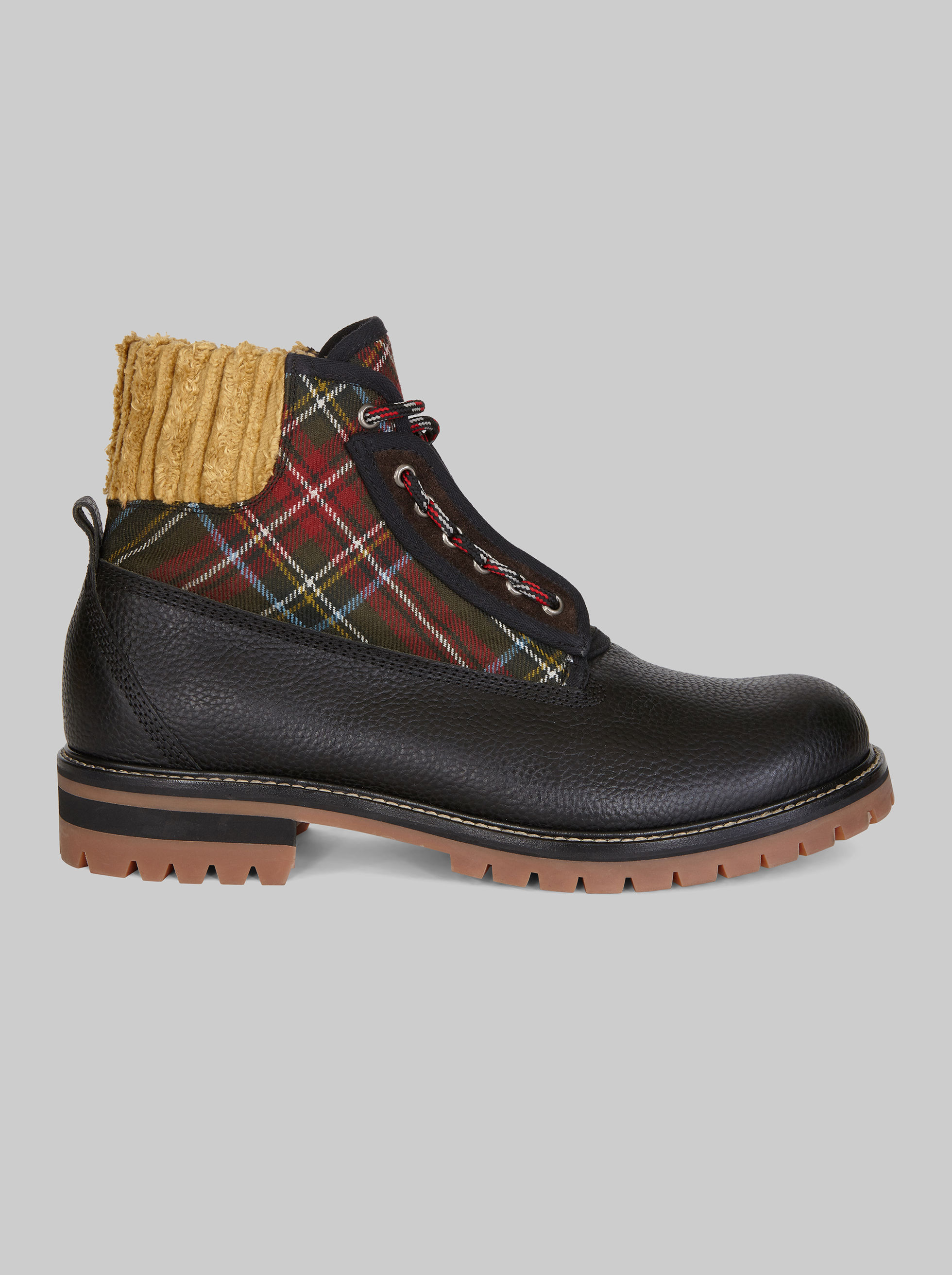 LEATHER BOOTS WITH TARTAN INSERTS
