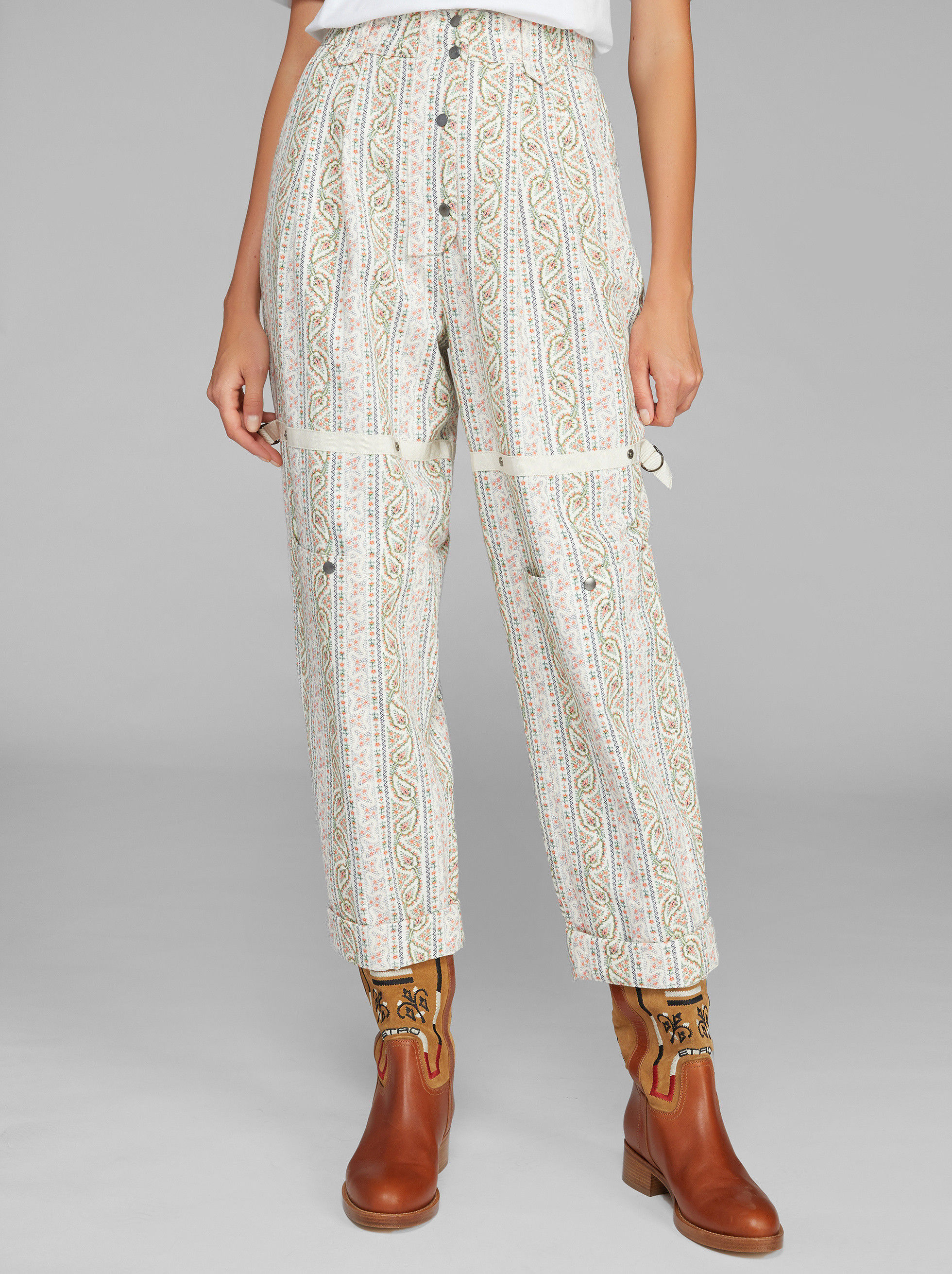 STRIPED PAISLEY PATTERN TROUSERS