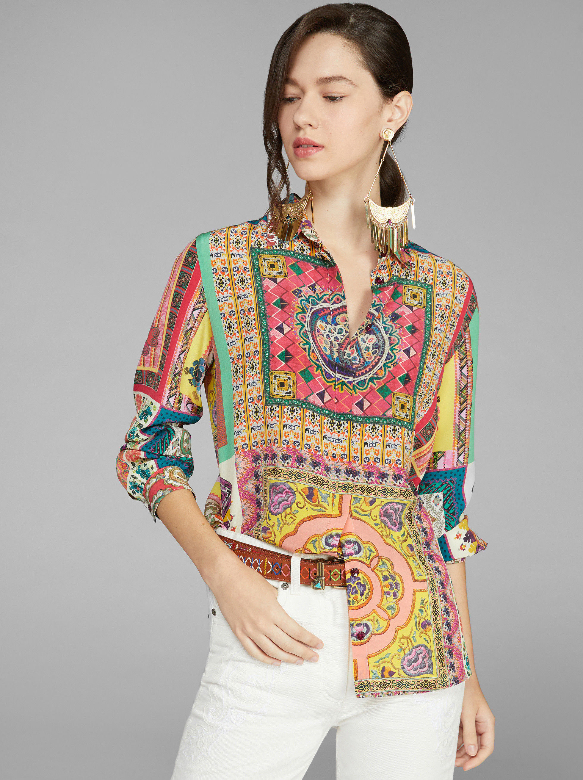 PATCHWORK PRINT SILK SHIRT
