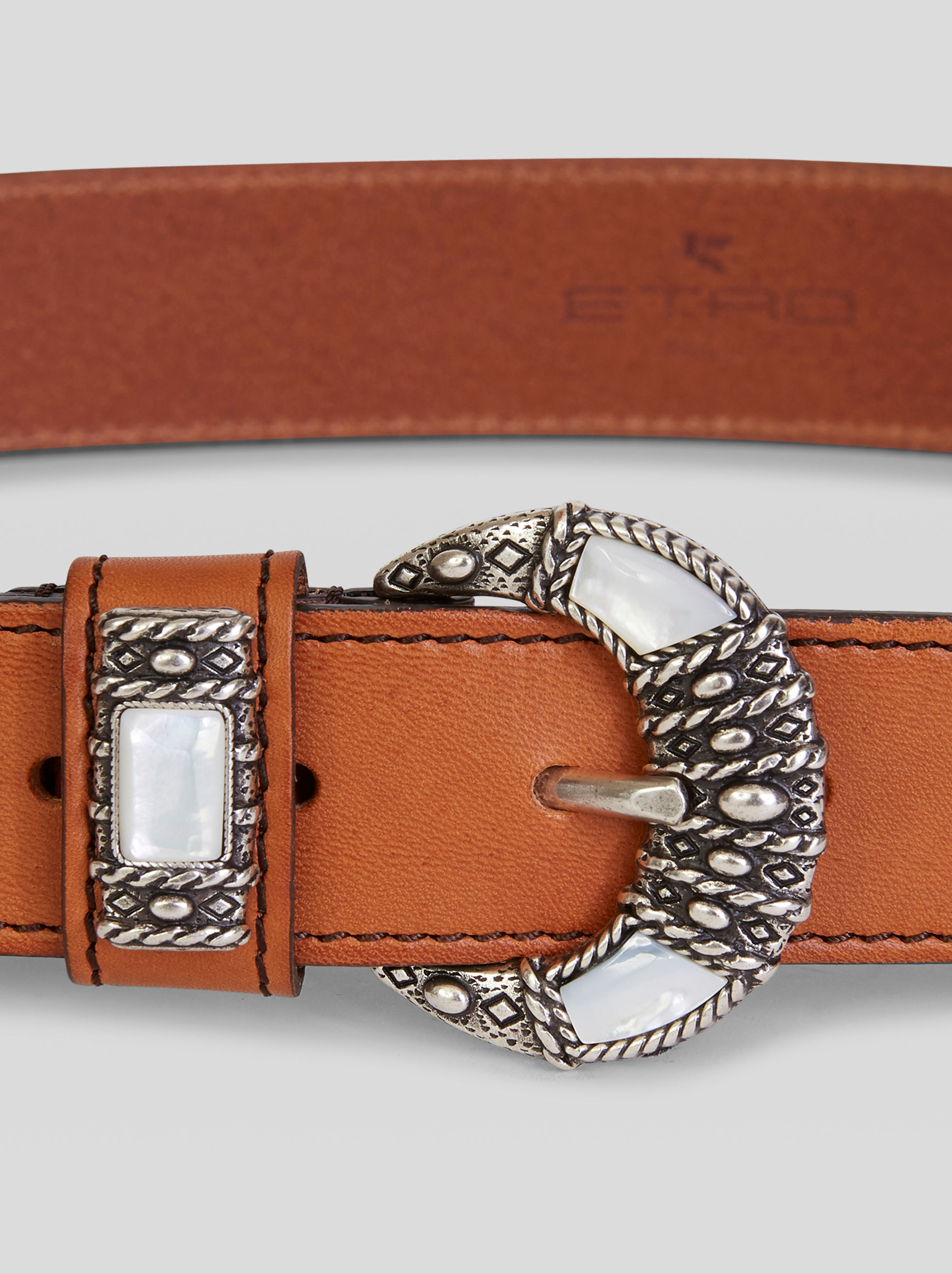 LEATHER BELT WITH MOTHER-OF-PEARL