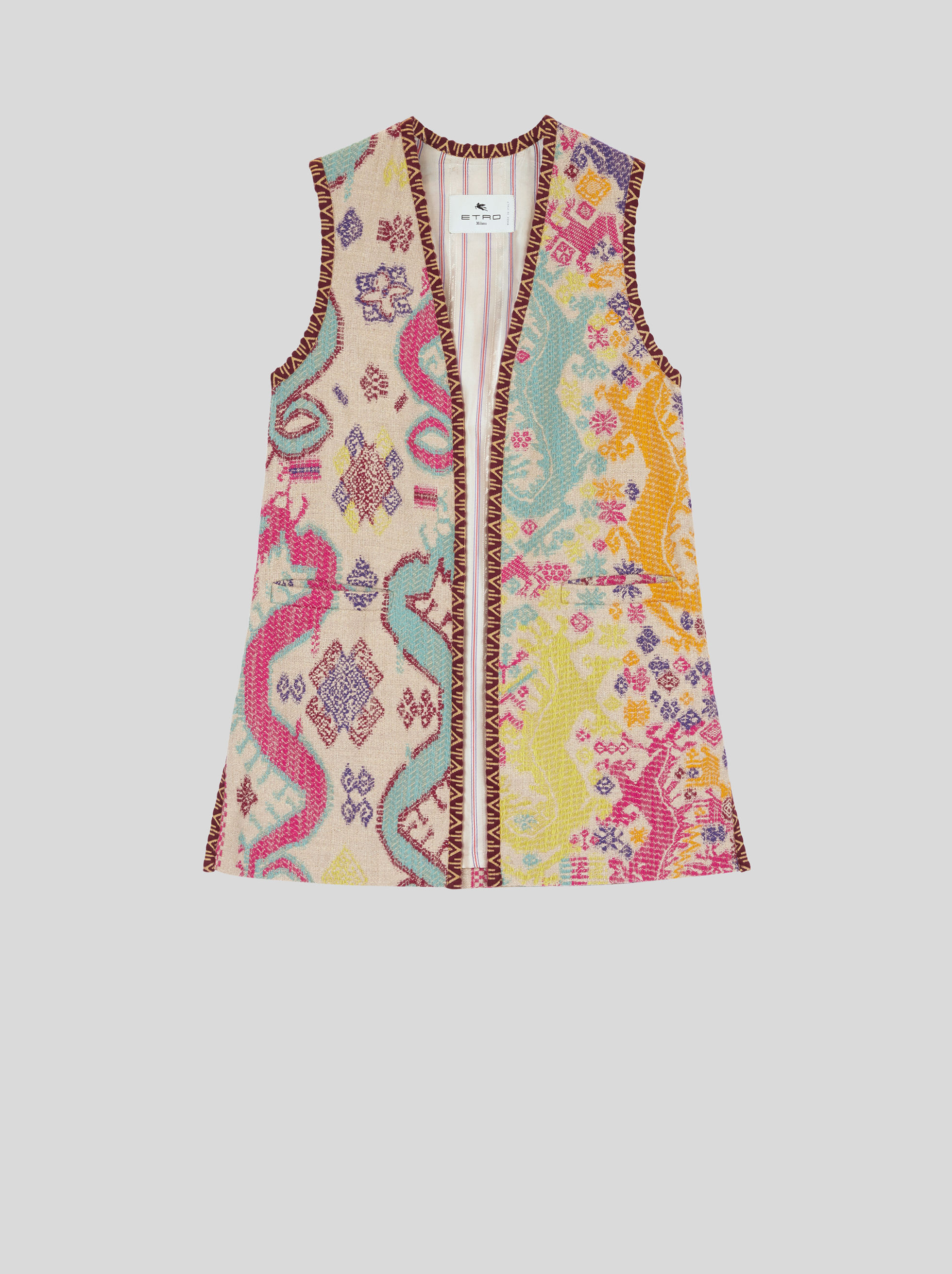 JACQUARD WAISTCOAT WITH NAÏF PATTERNS