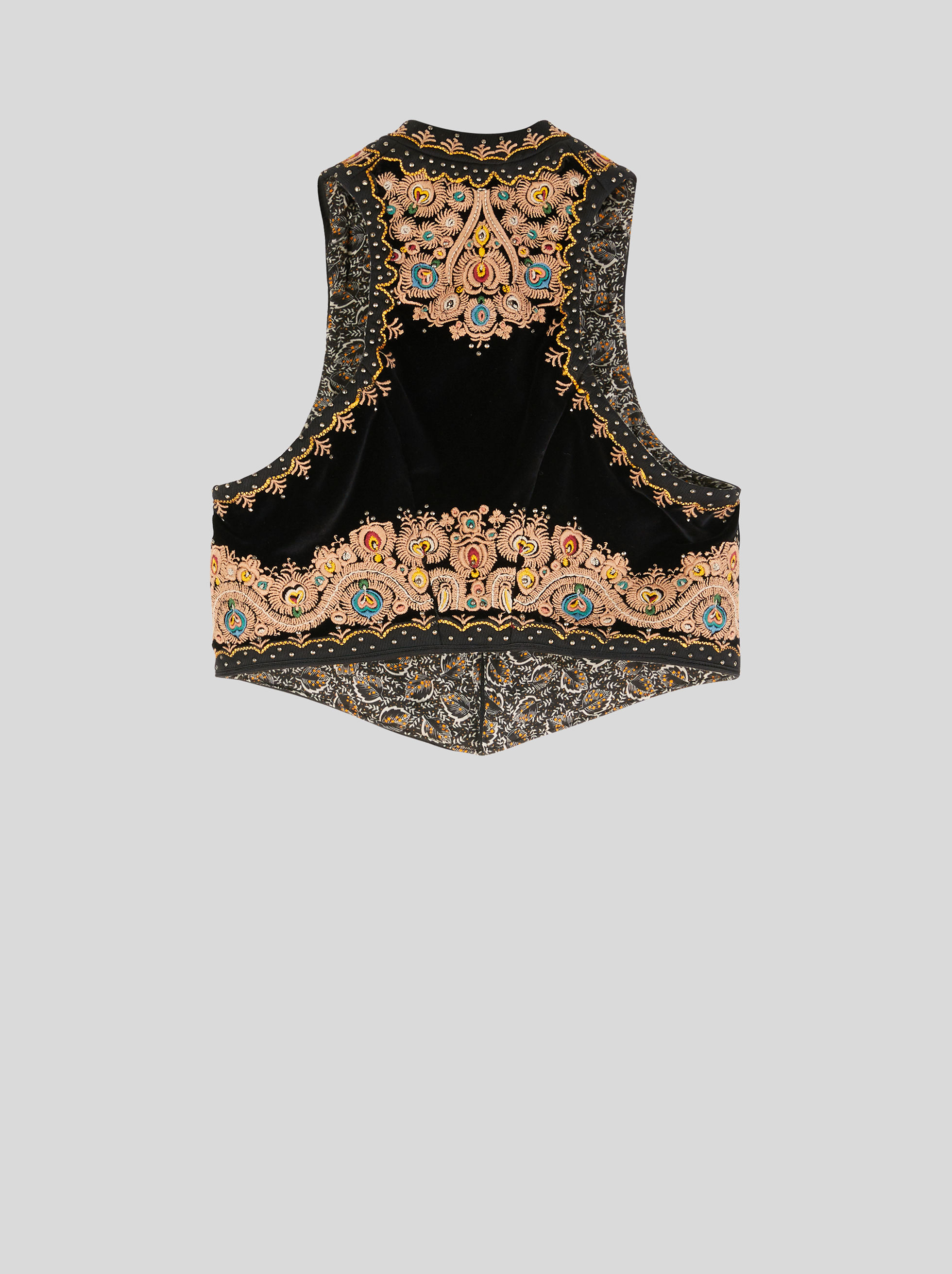 EMBROIDERED VELVET GILET