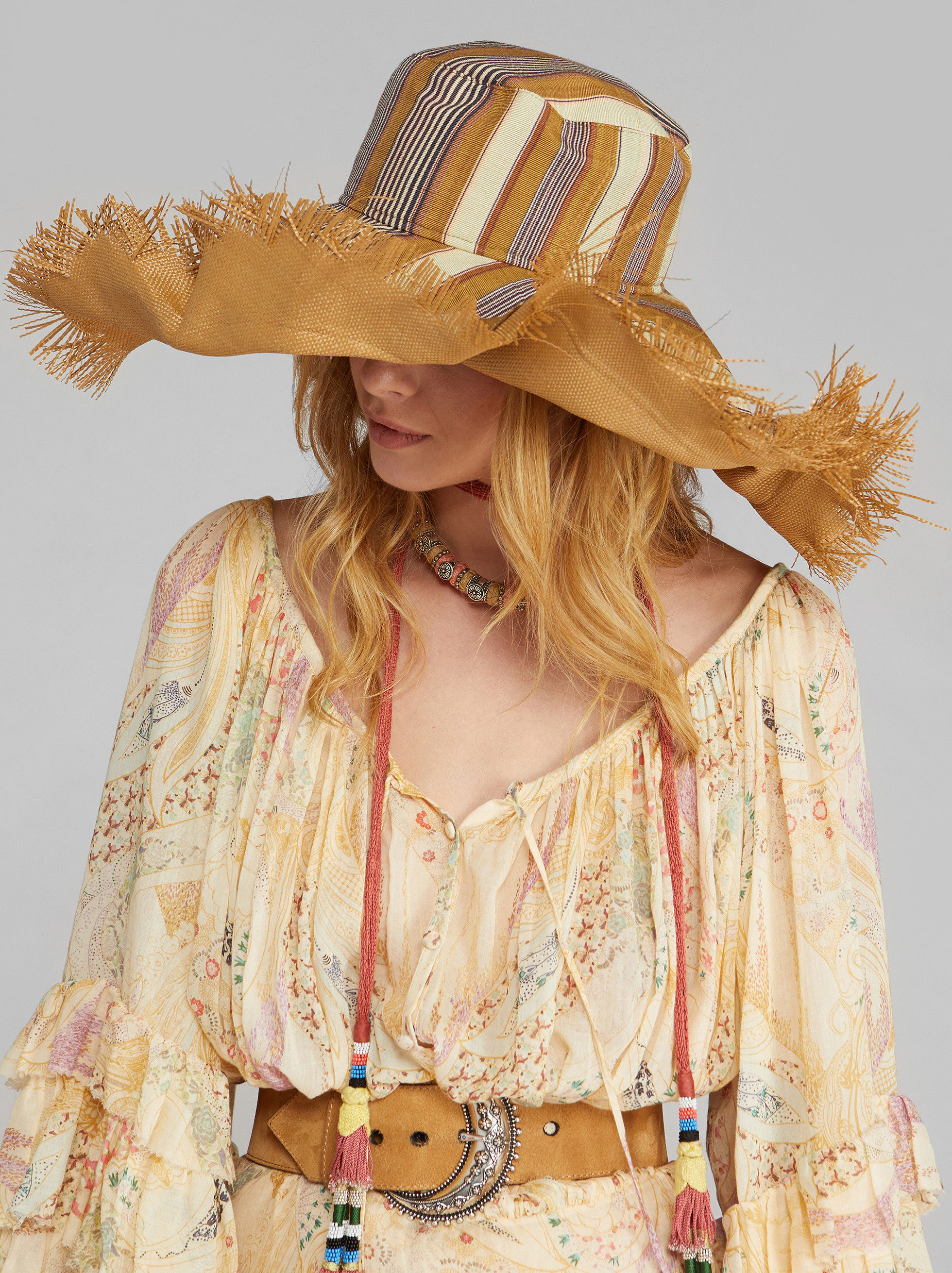FRINGED STRIPED HAT