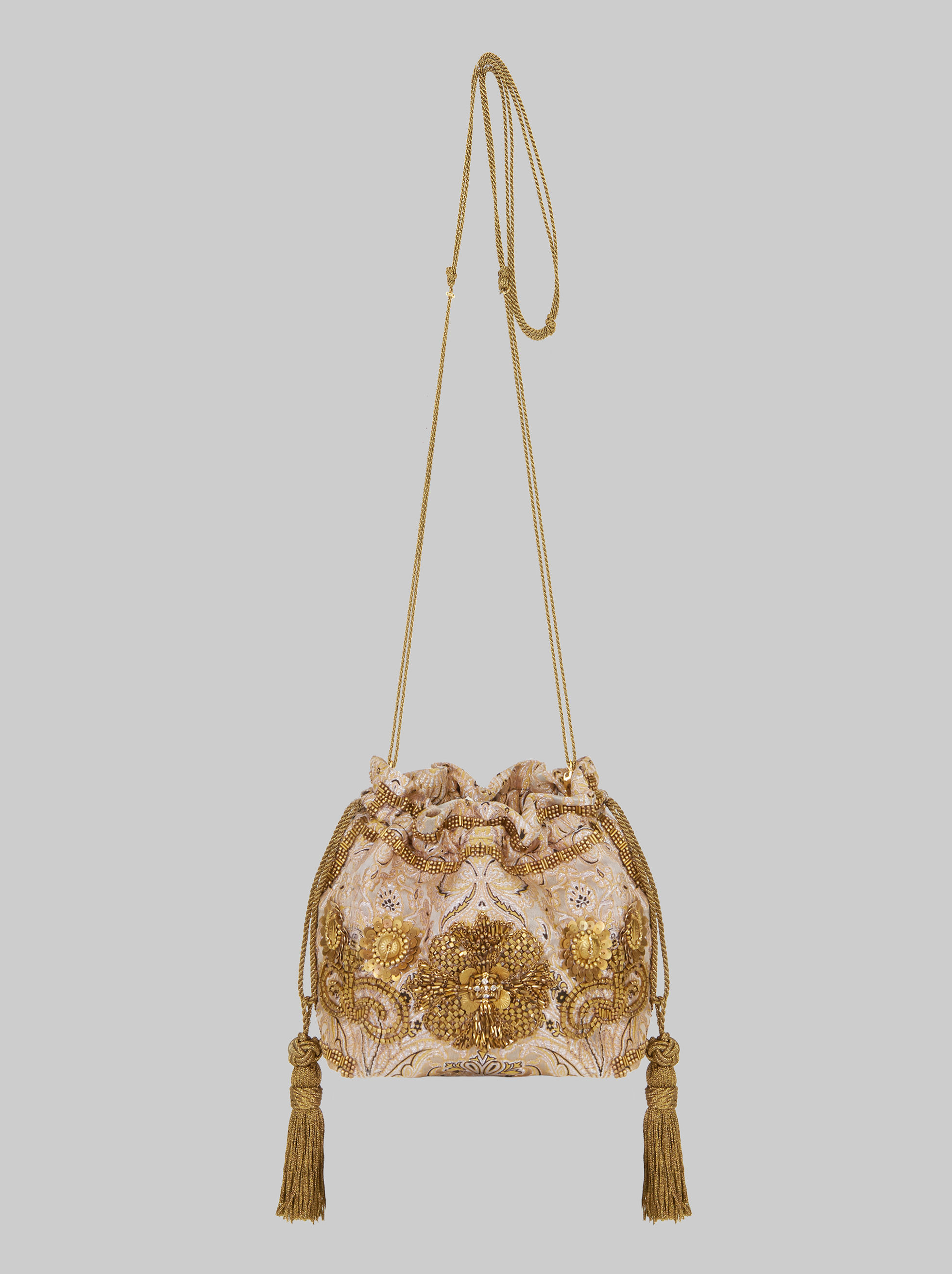 MINI EMBROIDERED JACQUARD BUCKET BAG