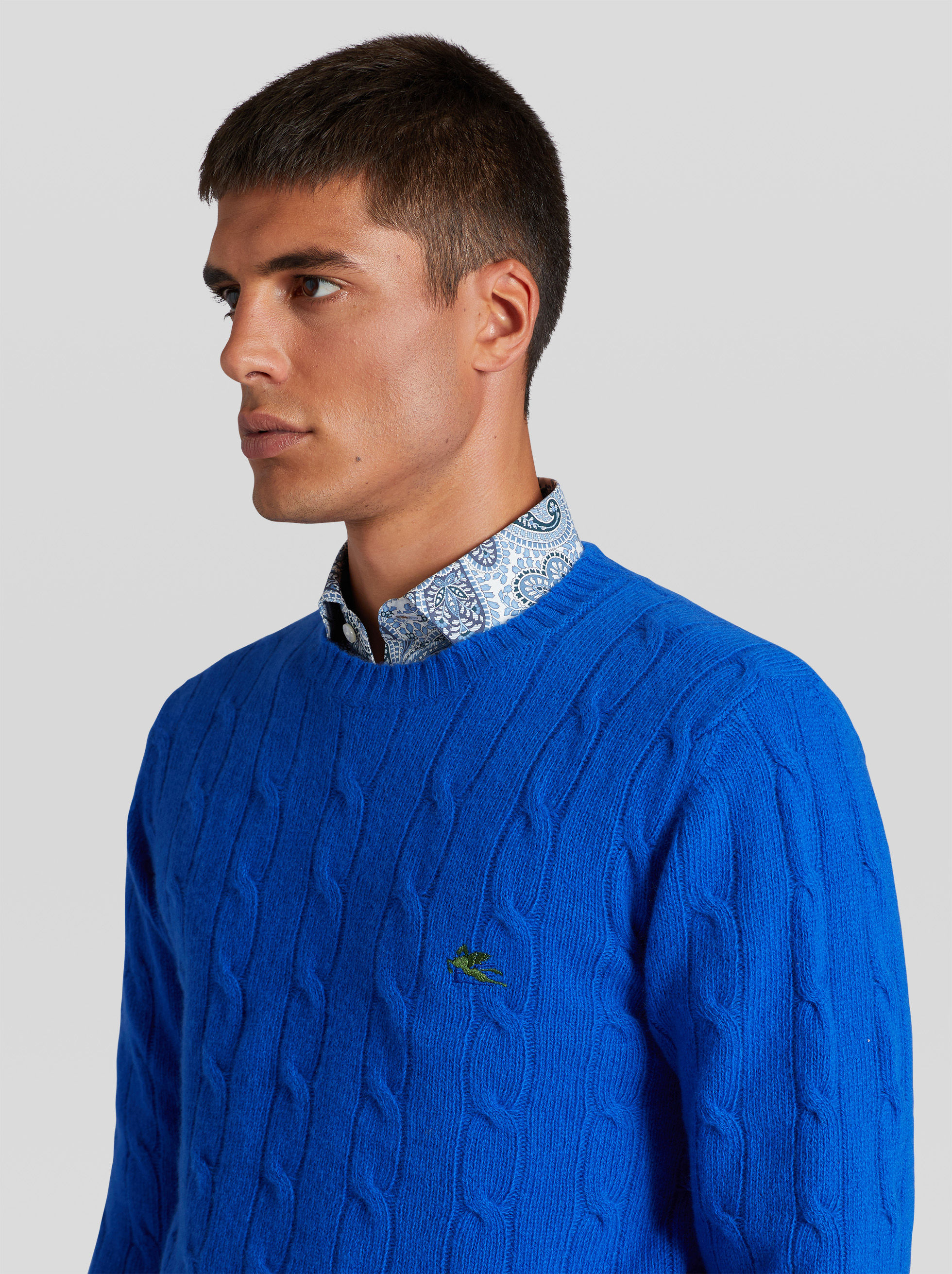 WOOL CABLE JUMPER WITH PEGASO