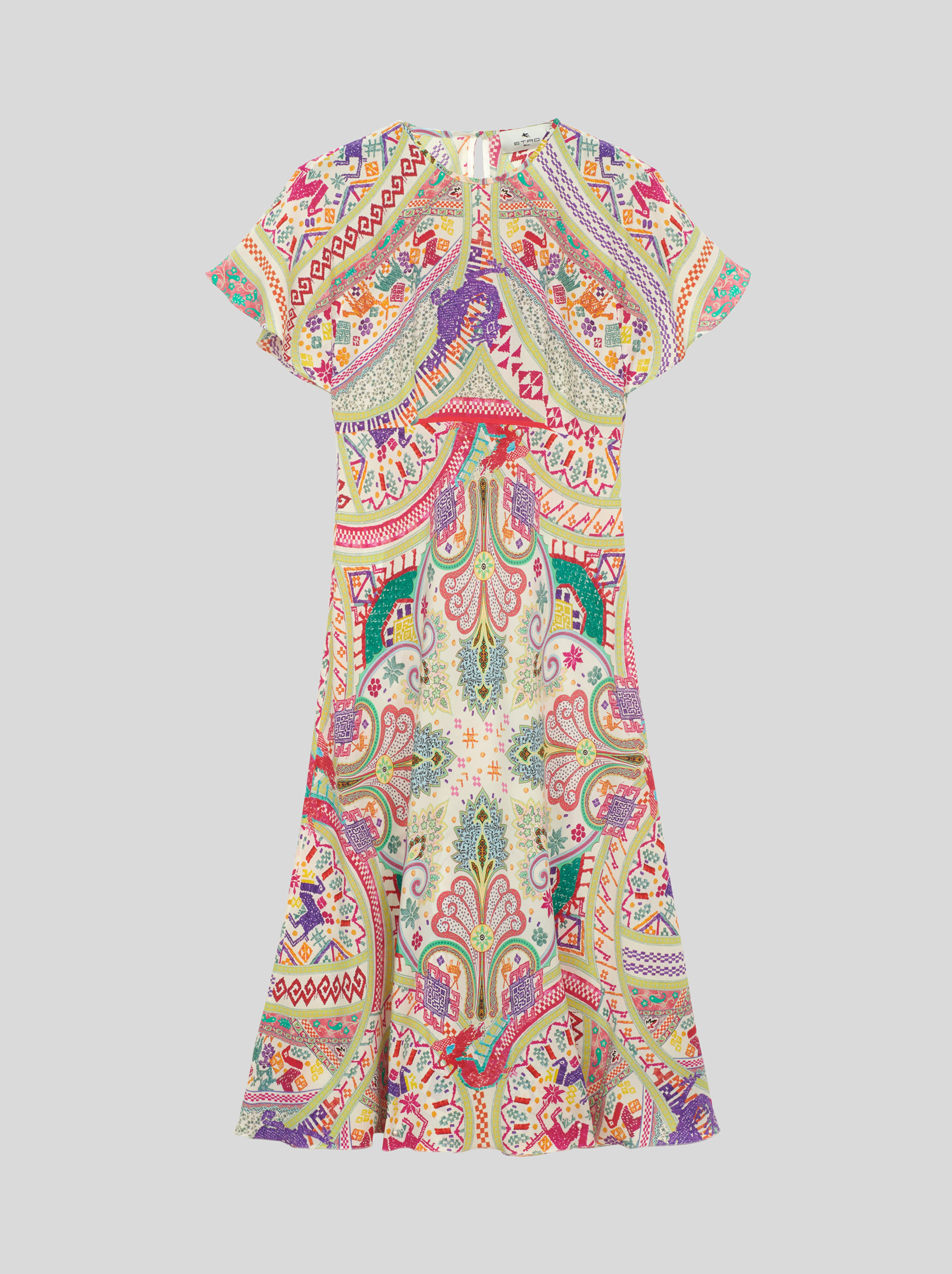 SILK DRESS WITH PAISLEY DESIGNS