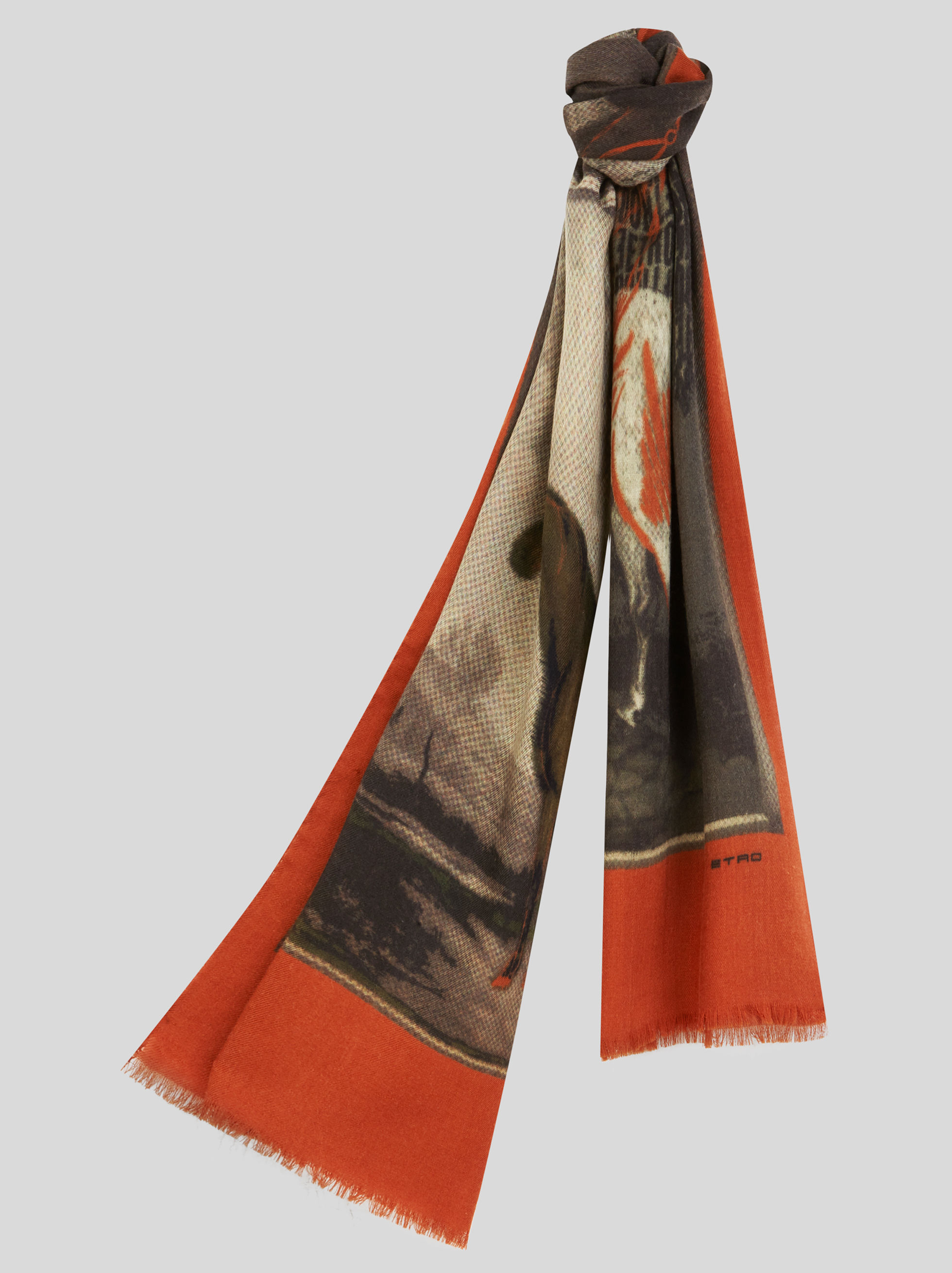 PRINTED WOOL AND SILK SCARF