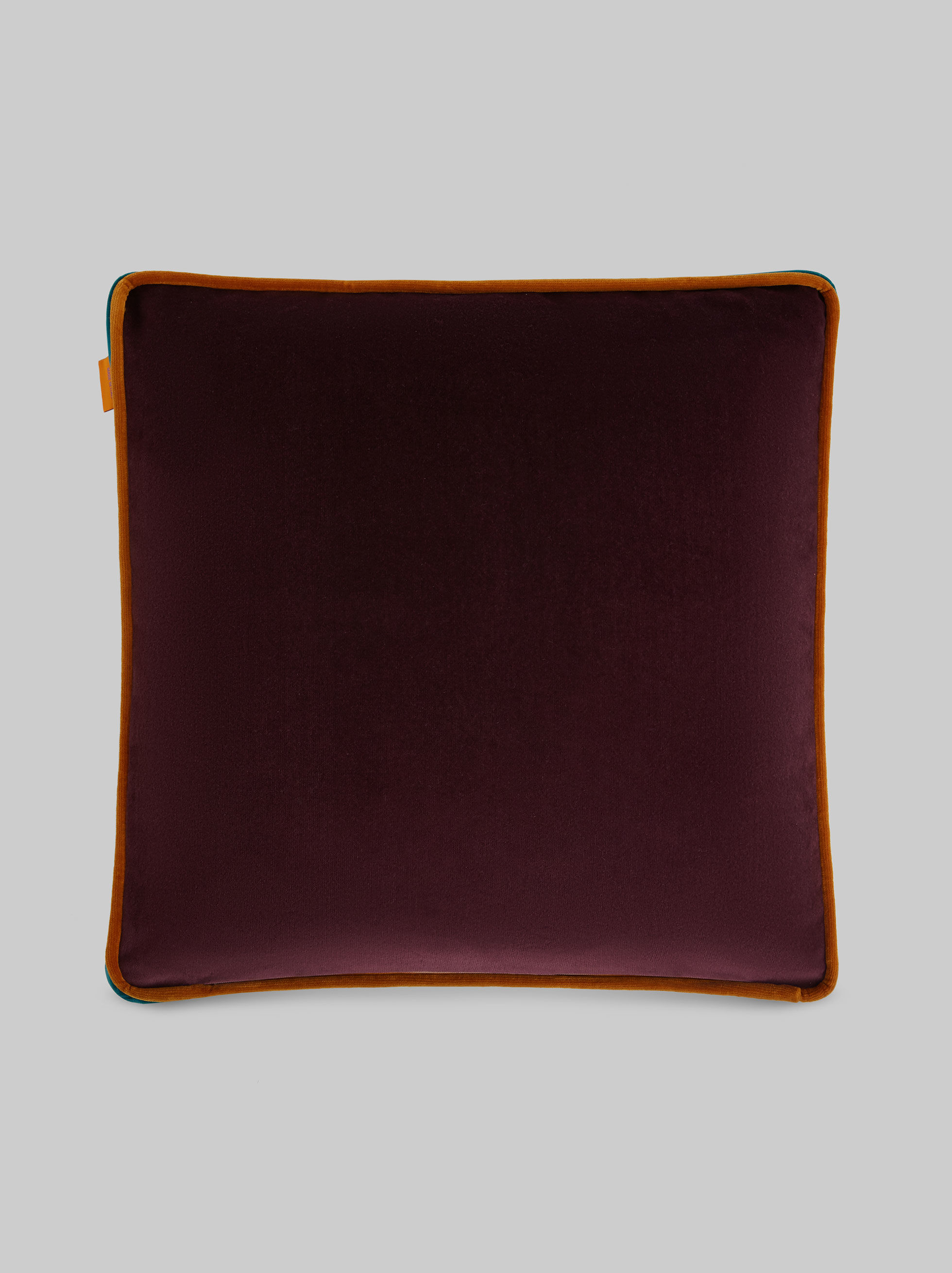 VELVET CUSHION WITH AN E IN PONY-HAIR SKIN