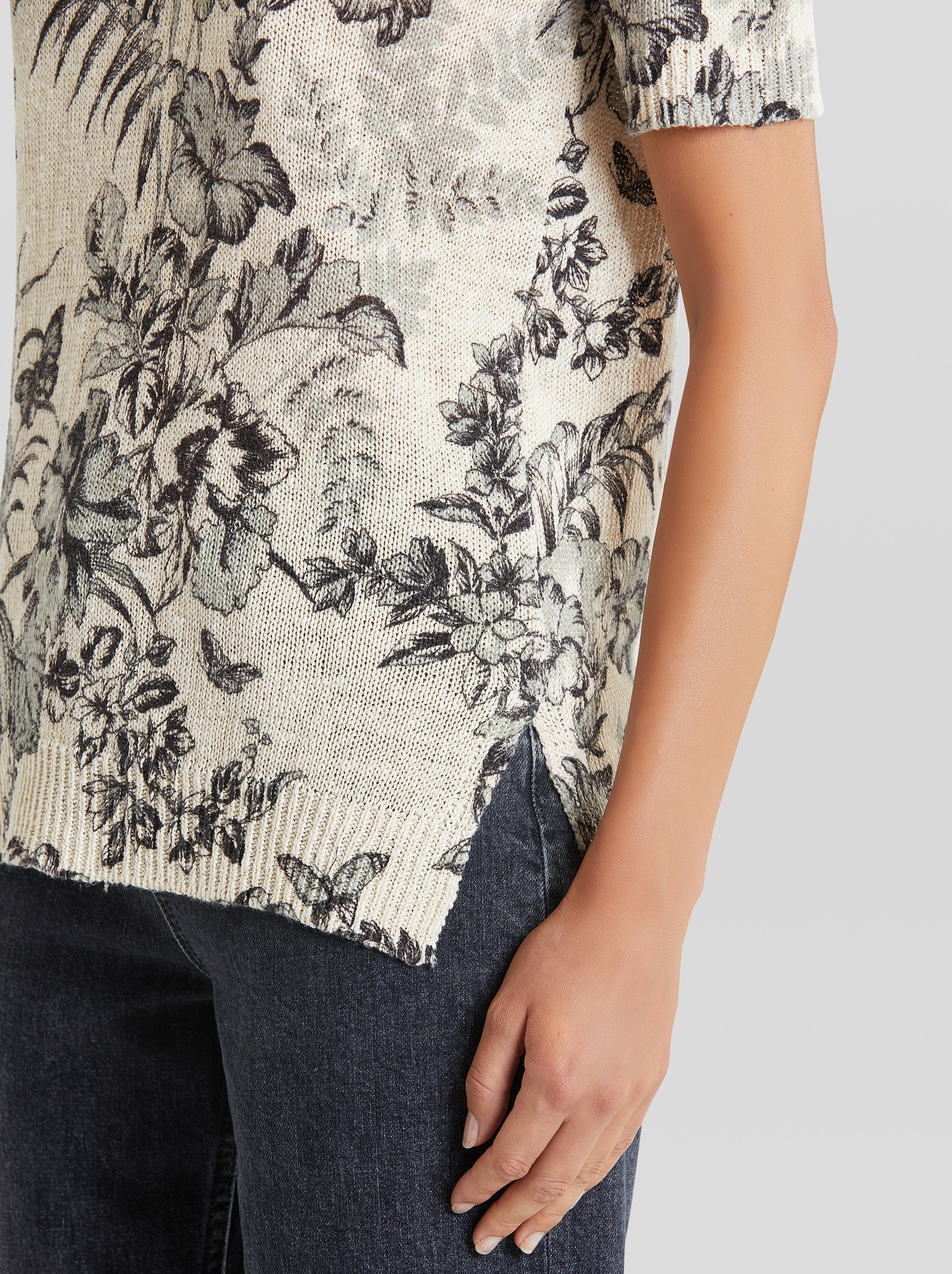 FLORAL DESIGN LINEN AND SILK JUMPER