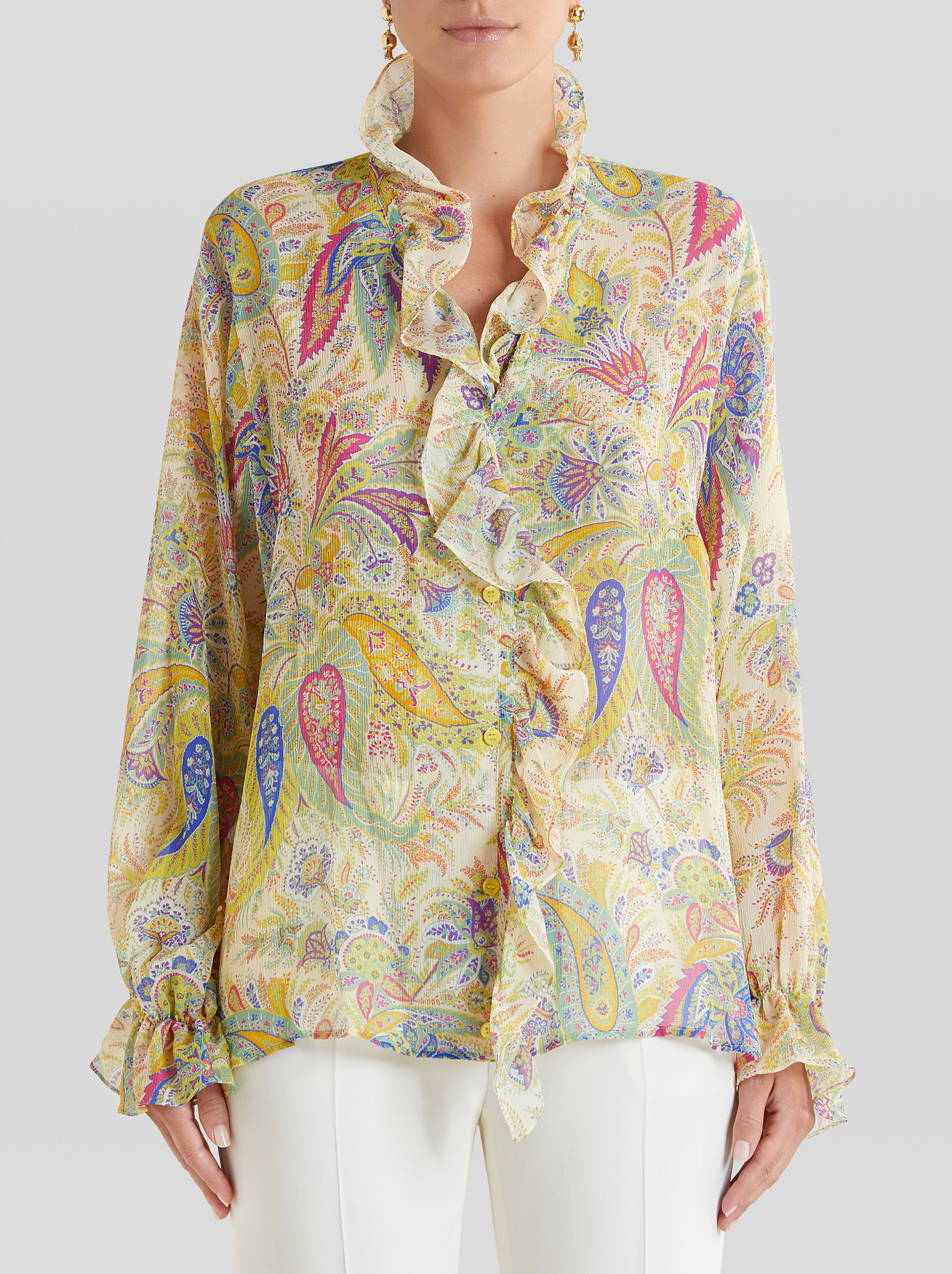 PAISLEY SILK SHIRT RUCHES