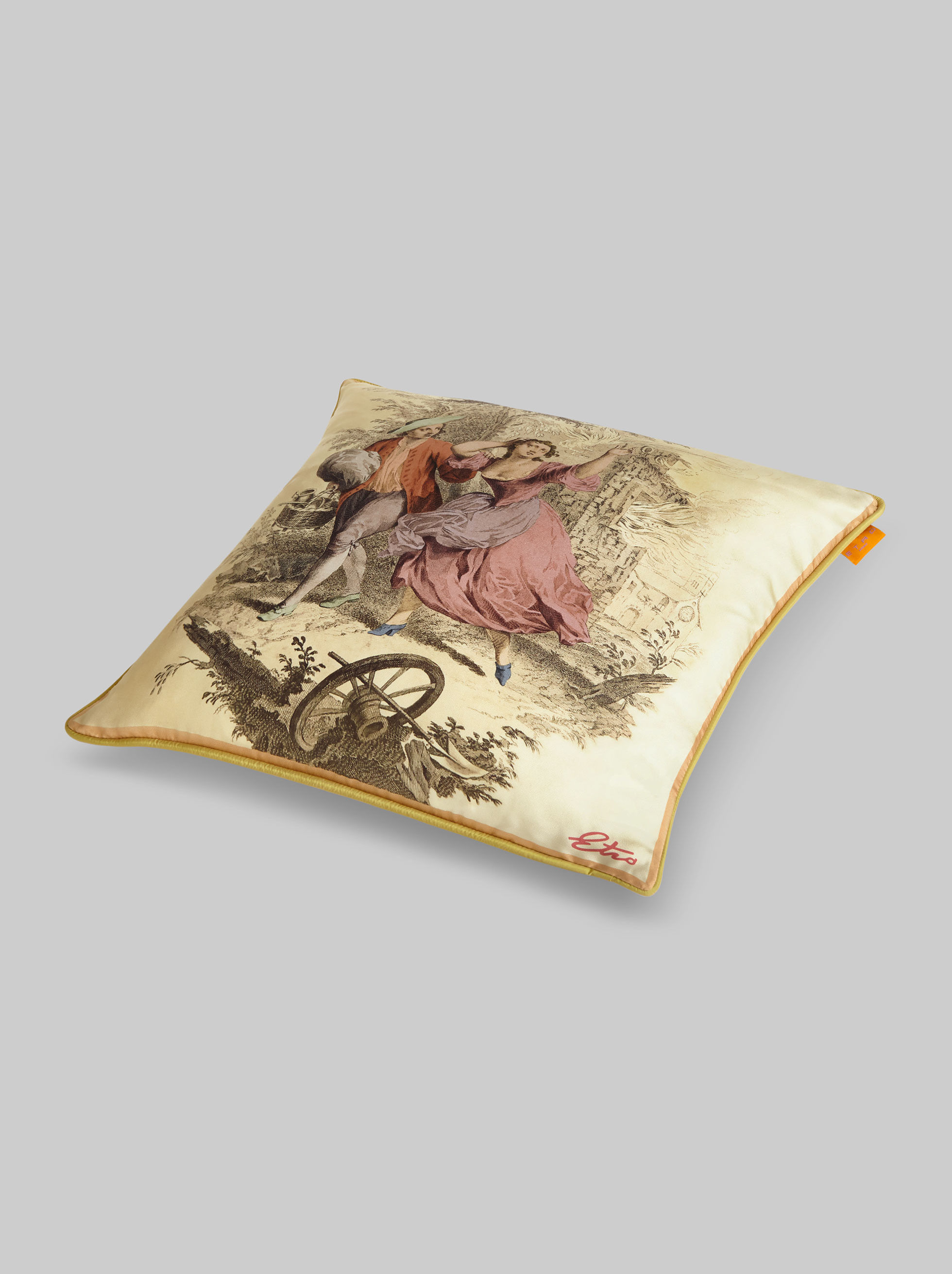 CUSHION WITH SILK ARCHIVE PRINT