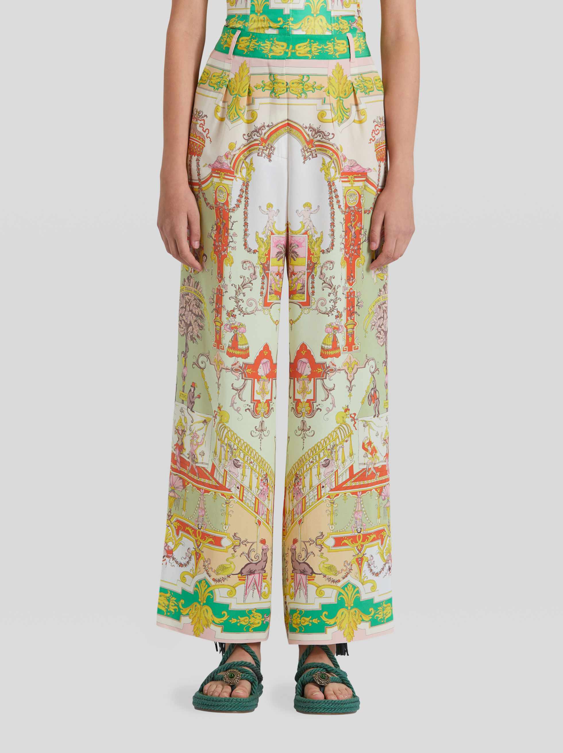 ORNAMENTAL PRINT SILK CULOTTES