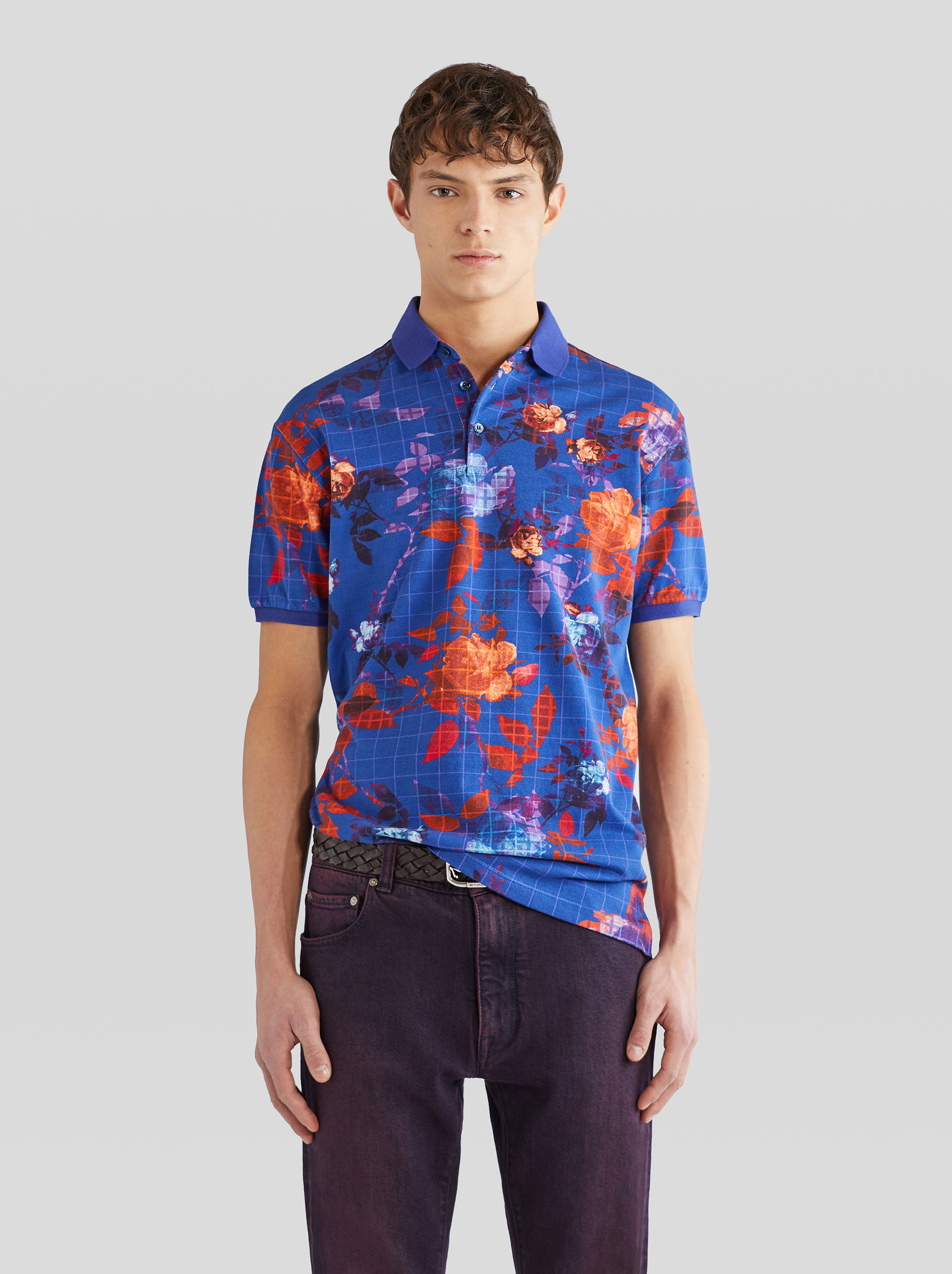 PIQUET POLO SHIRT WITH CHECK FLORAL PATTERNS