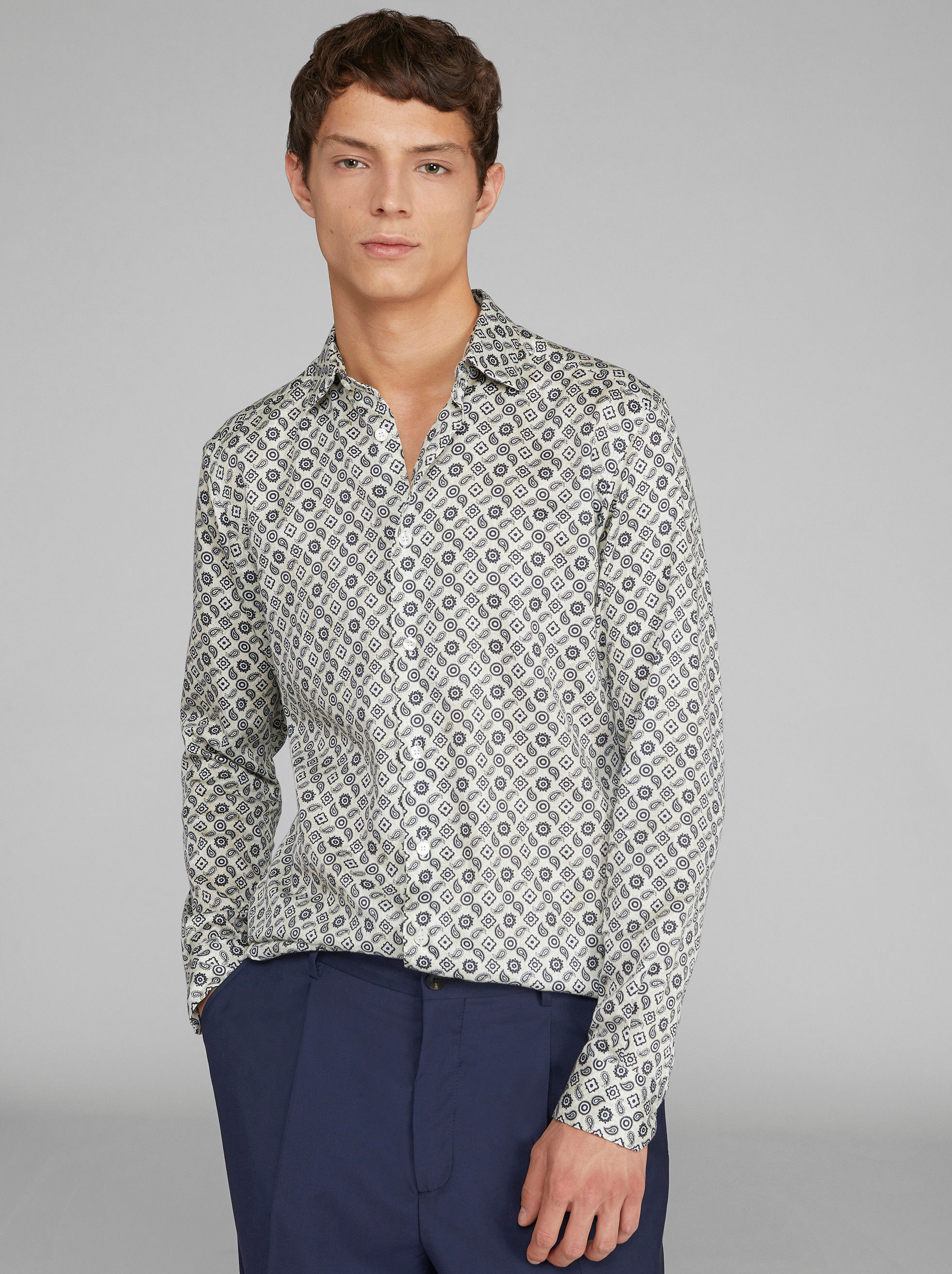 TIE PRINT COTTON SHIRT