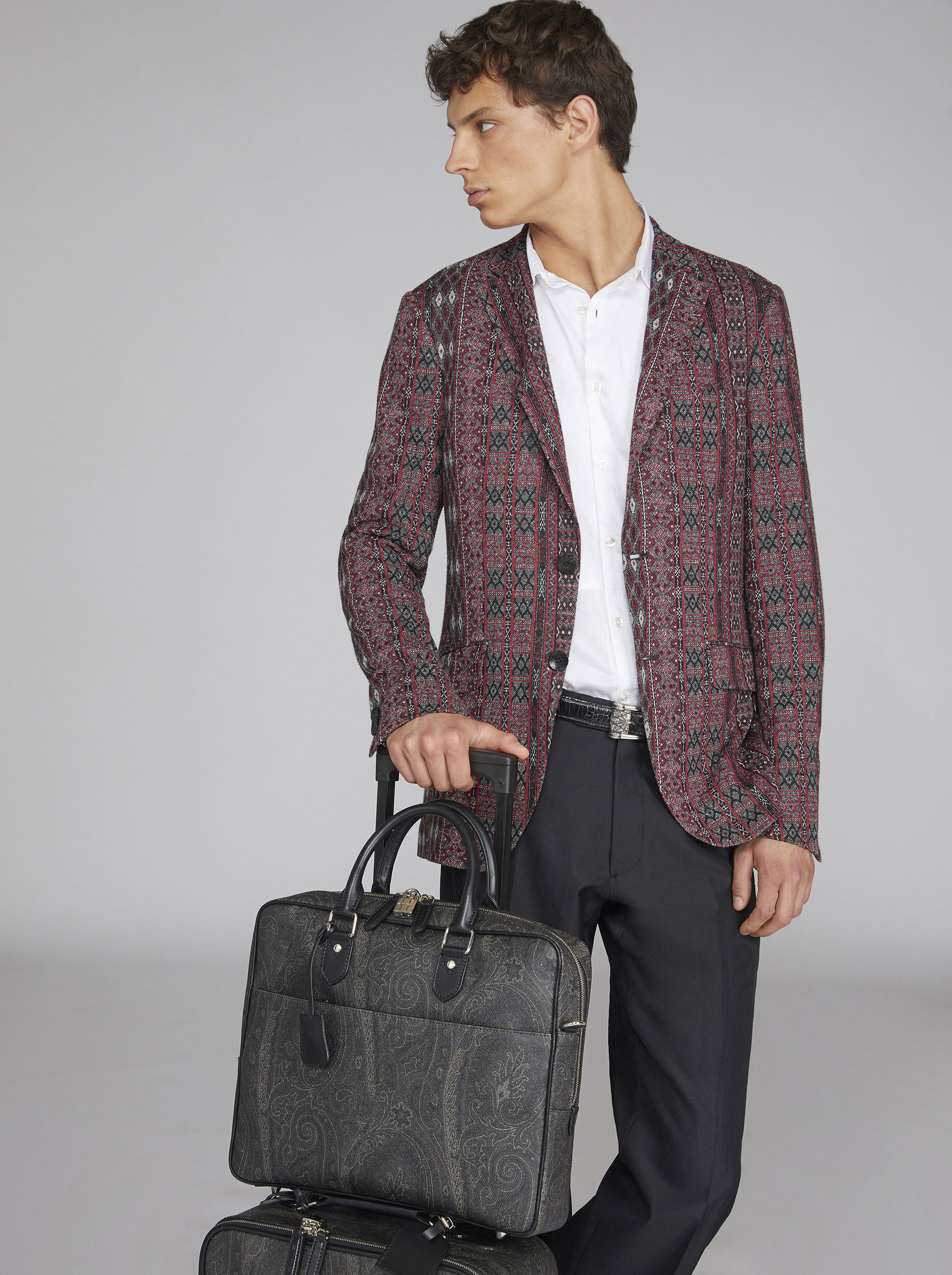 PAISLEY BRIEFCASE WITH CROSSBODY STRAP