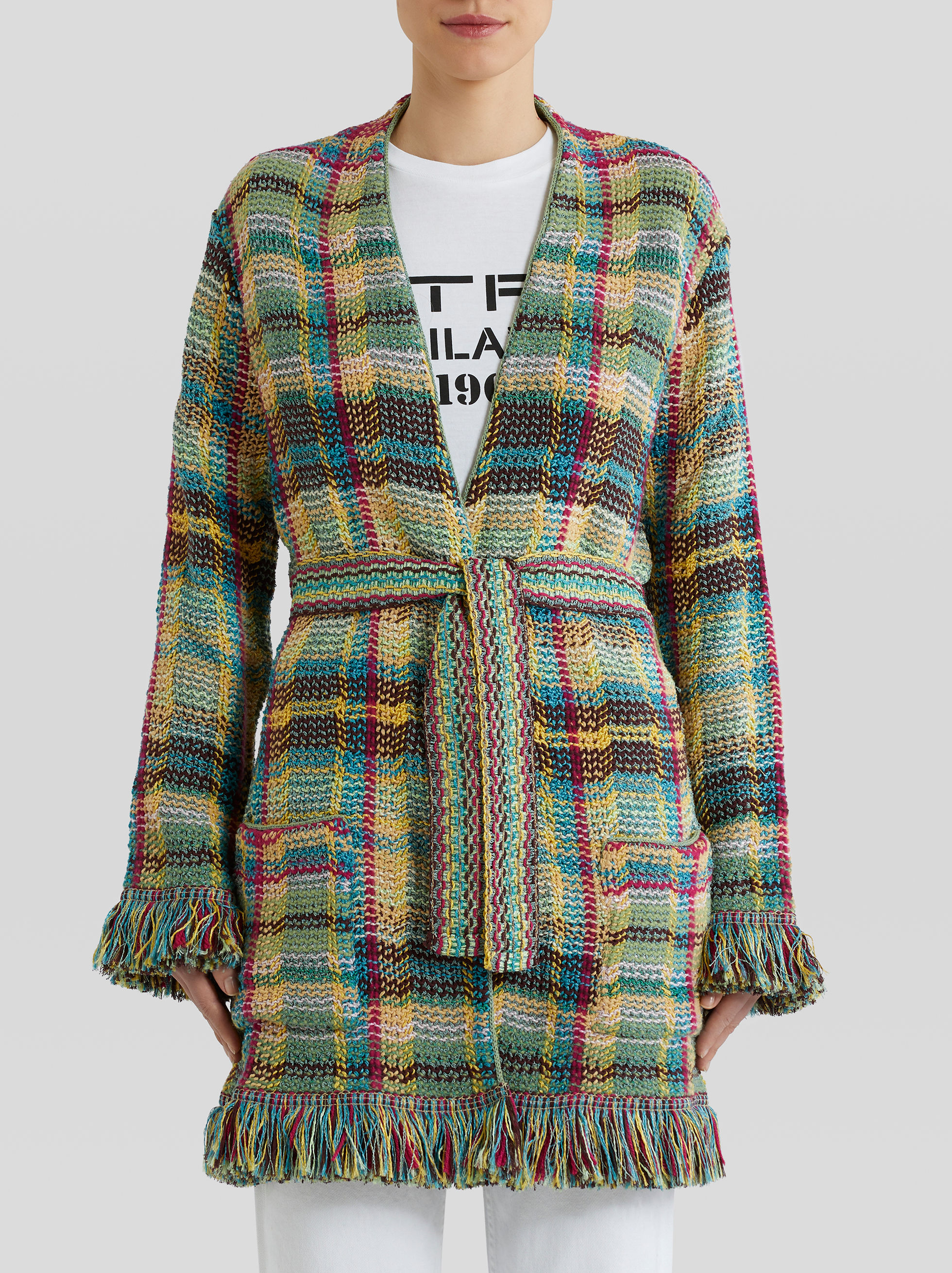 MULTI-COLOURED CHECK CARDIGAN