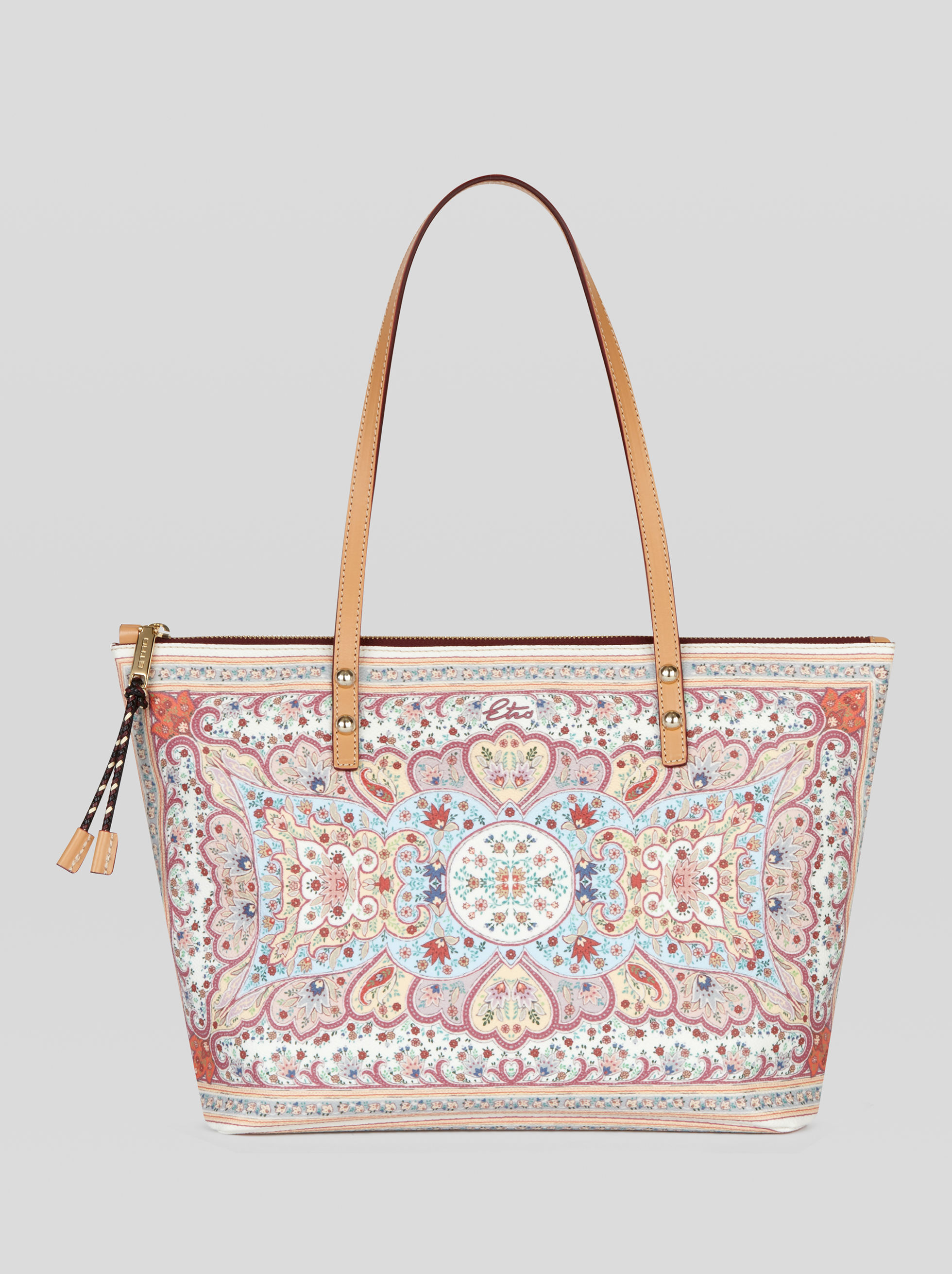 SHOPPING BAG WITH FLORAL PATTERNS