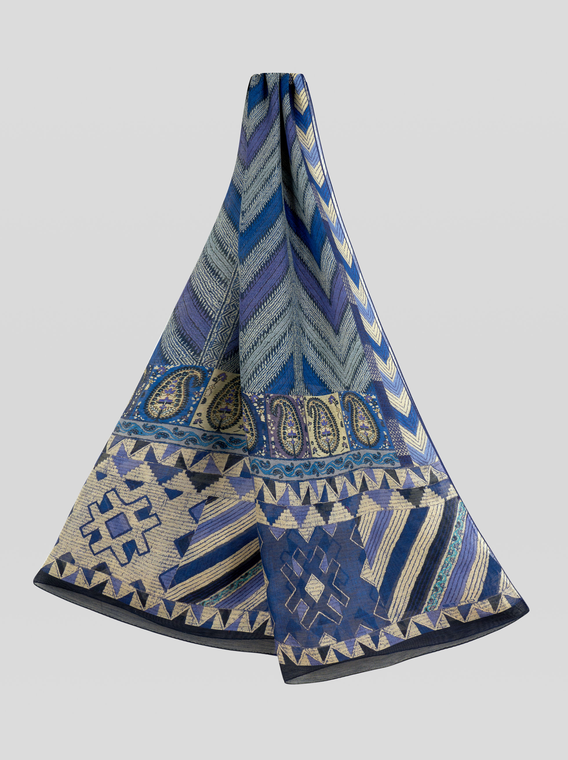 GEOMETRIC DESIGN LINEN AND SILK SCARF