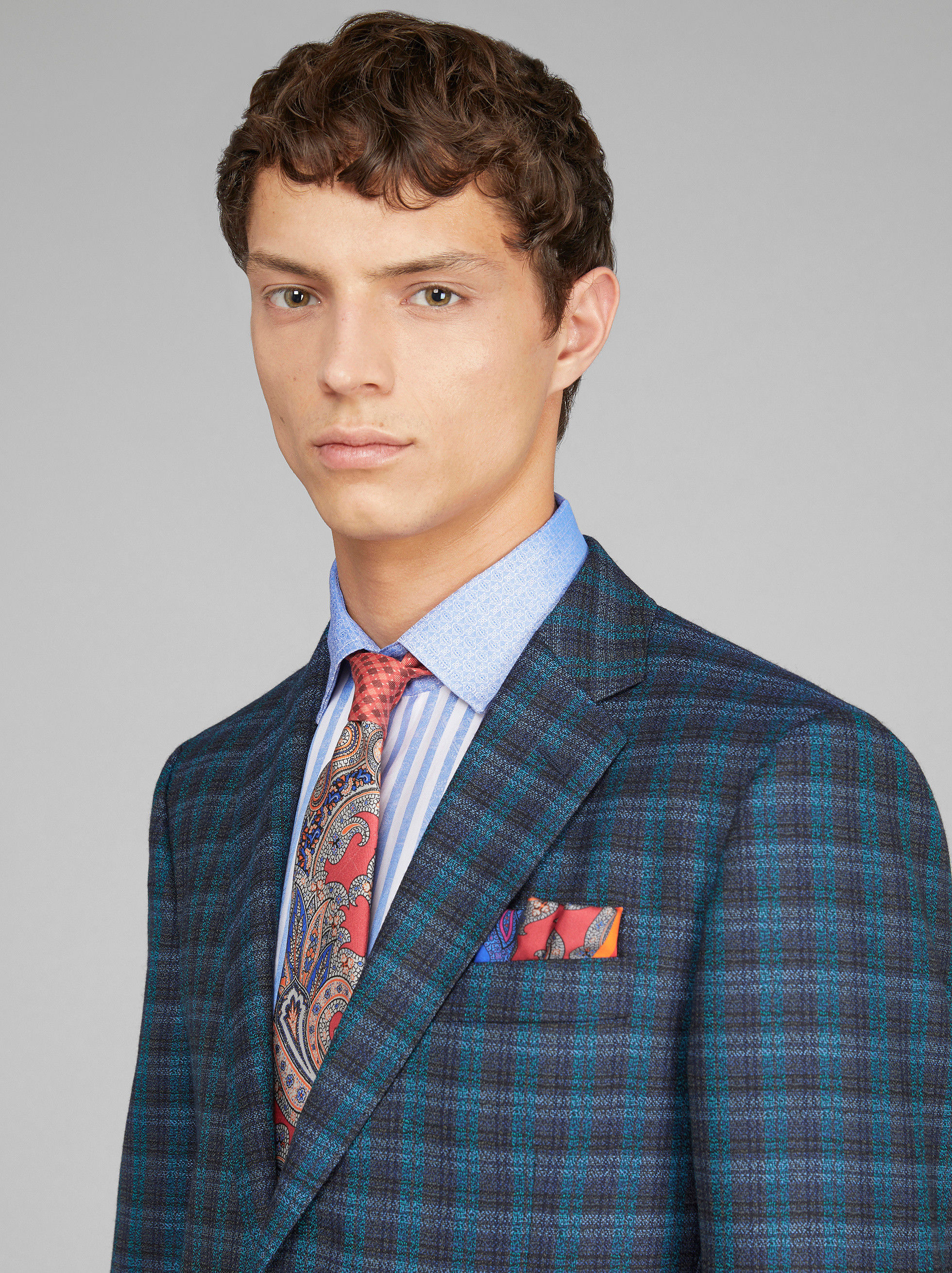 CHECK WOOL SUIT WITH DOUBLE LINING