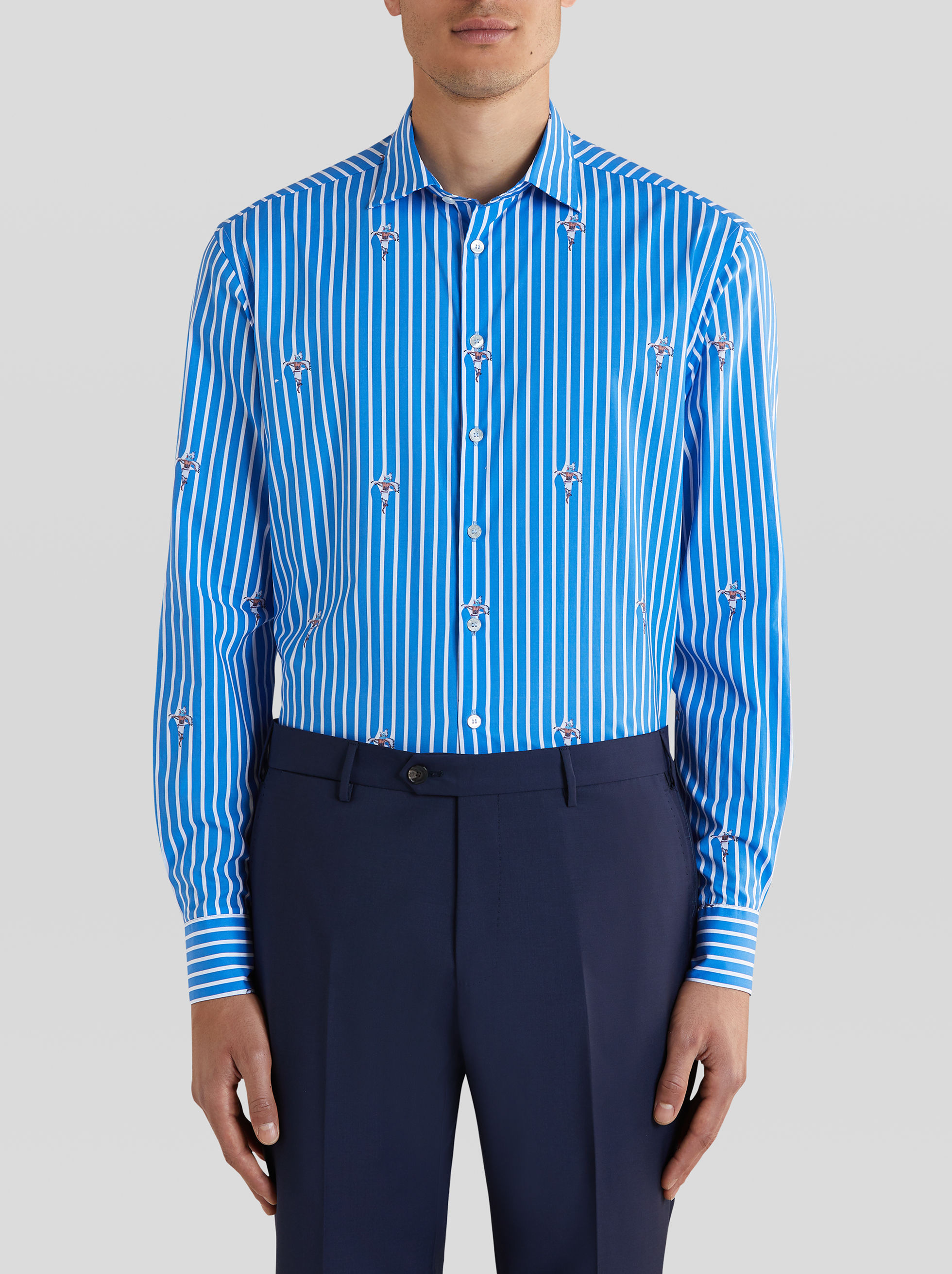 STRIPED COTTON SHIRT WITH PRINTED DETAILS